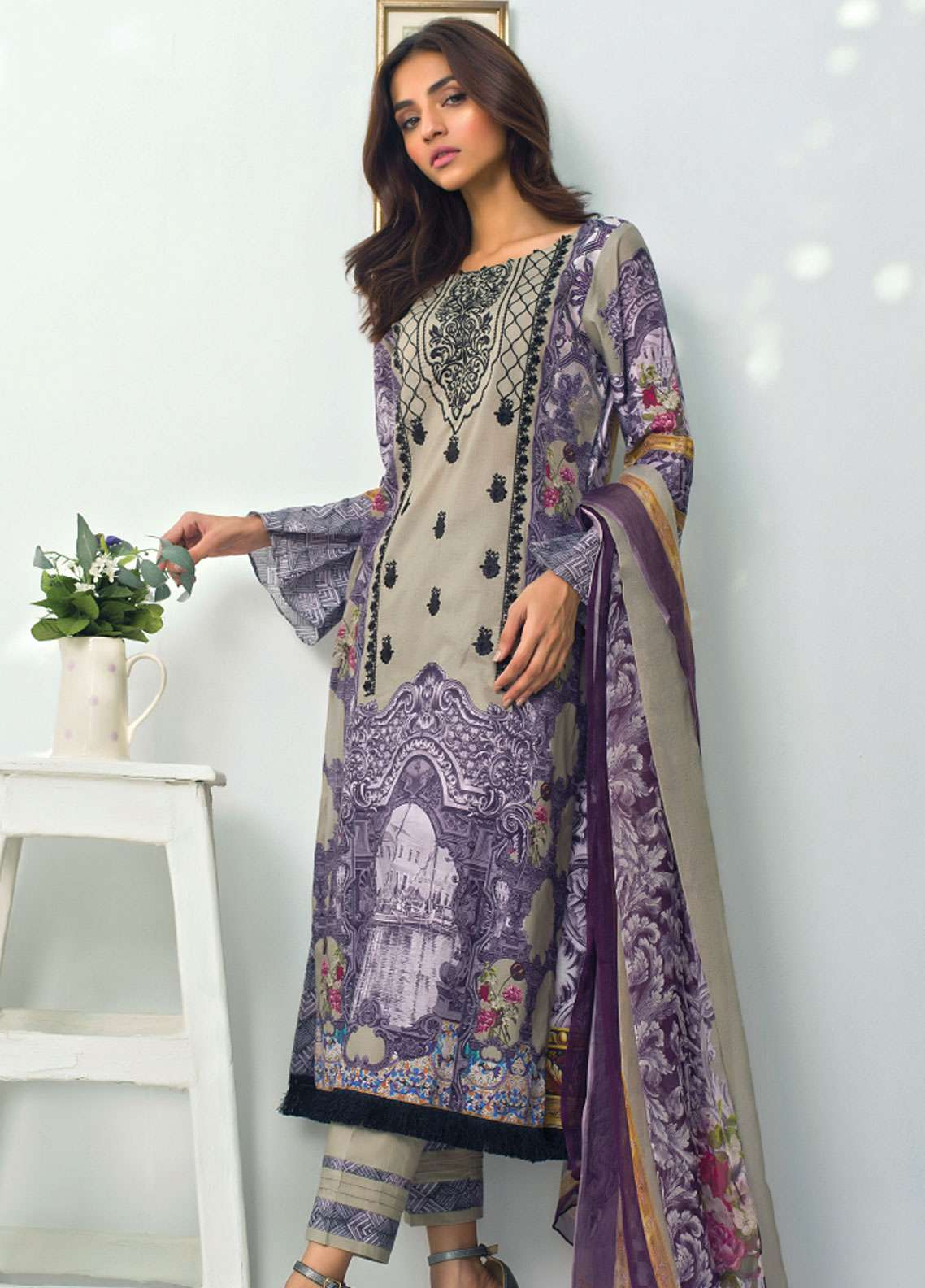 Nisha Bawany by Regalia Textiles Embroidered Lawn Unstitched 3 Piece Suit NB19L 2 - Spring / Summer Collection