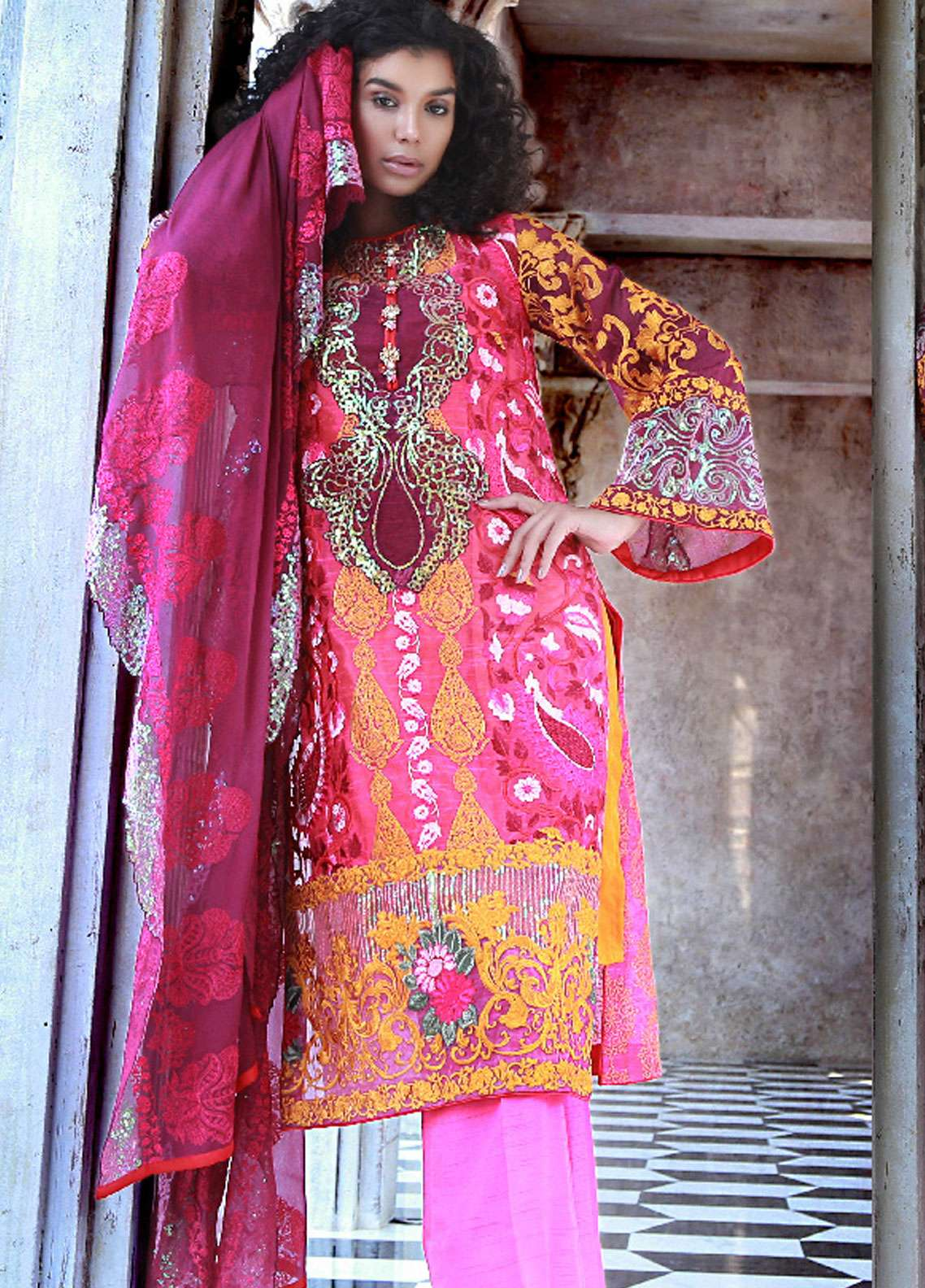 Nomi Ansari Embroidered Cotton Net Unstitched 3 Piece Suit NA18W 05 - Winter Collection