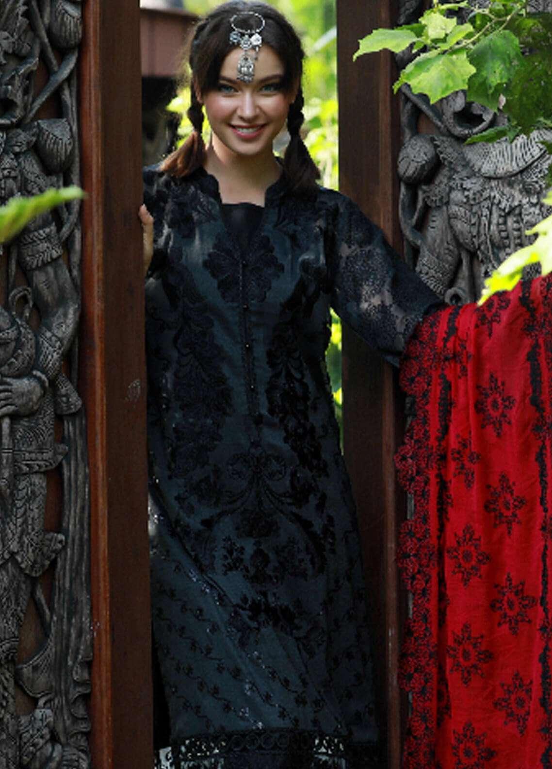 Noor-e-Fizzata Embroidered Cotton Net Unstitched 3 Piece Suit NF18C 01 BLACK - Luxury Collection