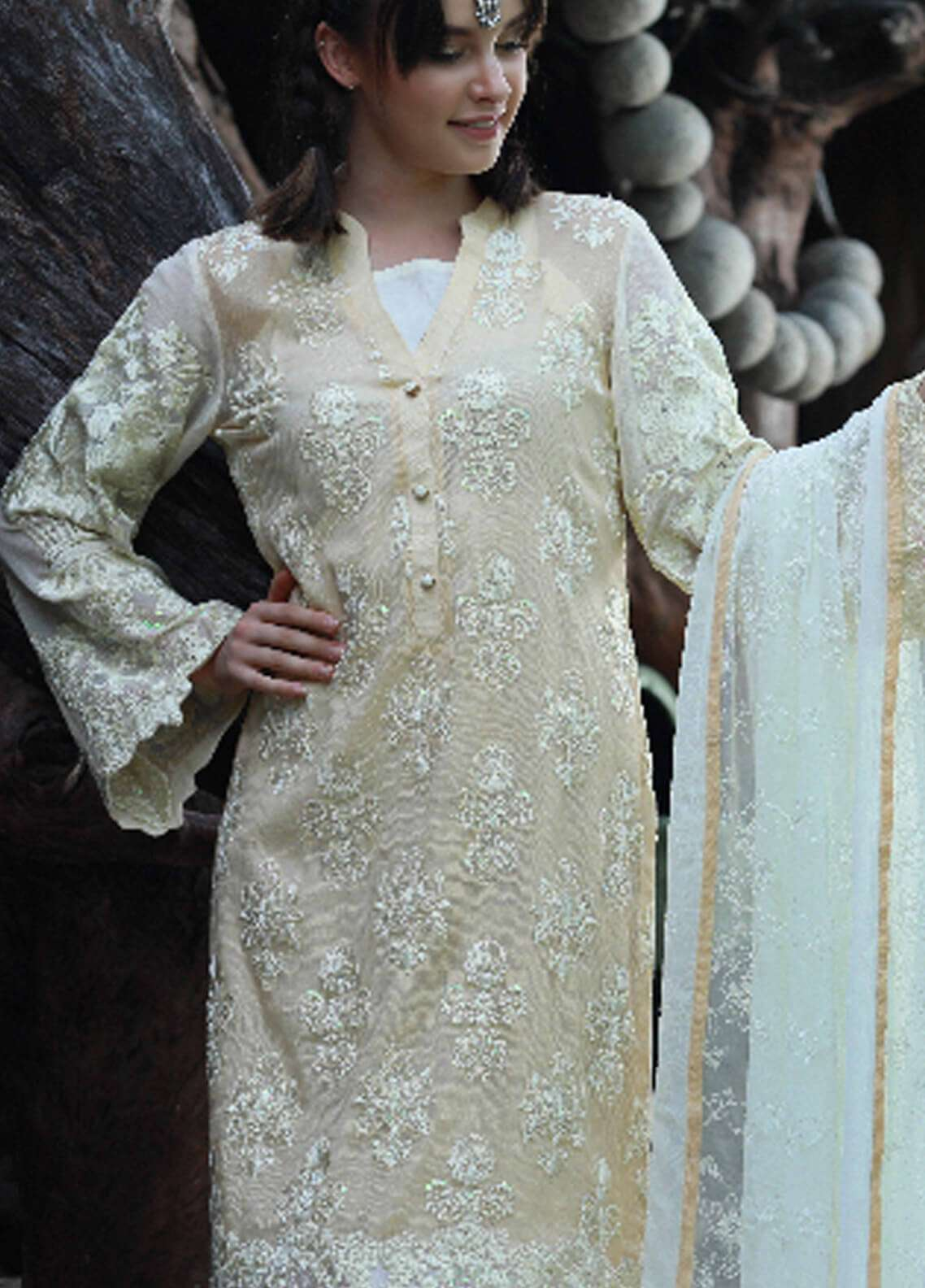 Noor-e-Fizzata Embroidered Cotton Net Unstitched 3 Piece Suit NF18C 02 GOLDEN - Luxury Collection