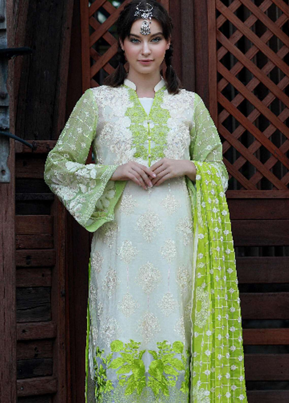 Noor-e-Fizzata Embroidered Cotton Net Unstitched 3 Piece Suit NF18C 03 OFF WHITE - Luxury Collection