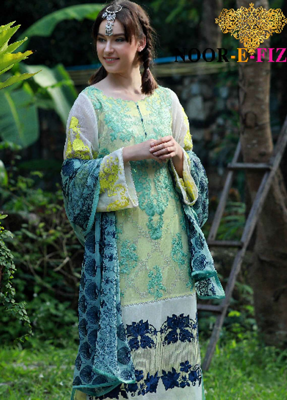 Noor-e-Fizzata Embroidered Cotton Net Unstitched 3 Piece Suit NF18C 04 YELLOW - Luxury Collection