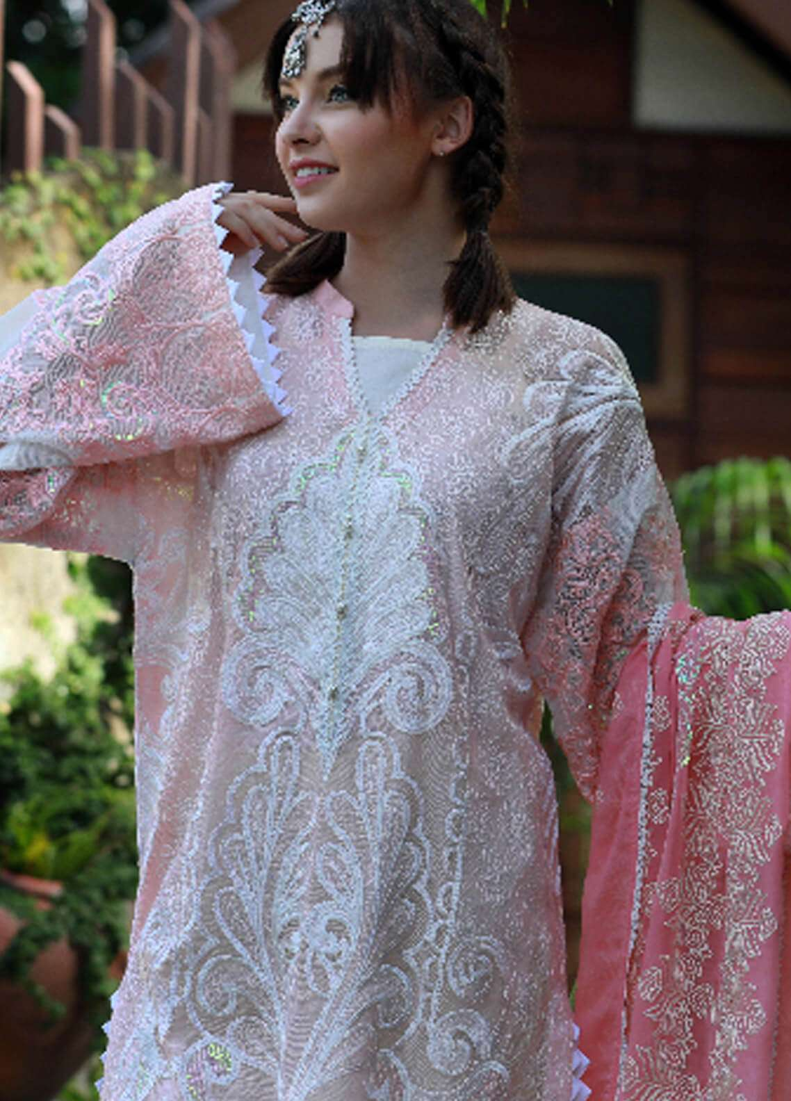 Noor-e-Fizzata Embroidered Cotton Net Unstitched 3 Piece Suit NF18C 05 PINK - Luxury Collection