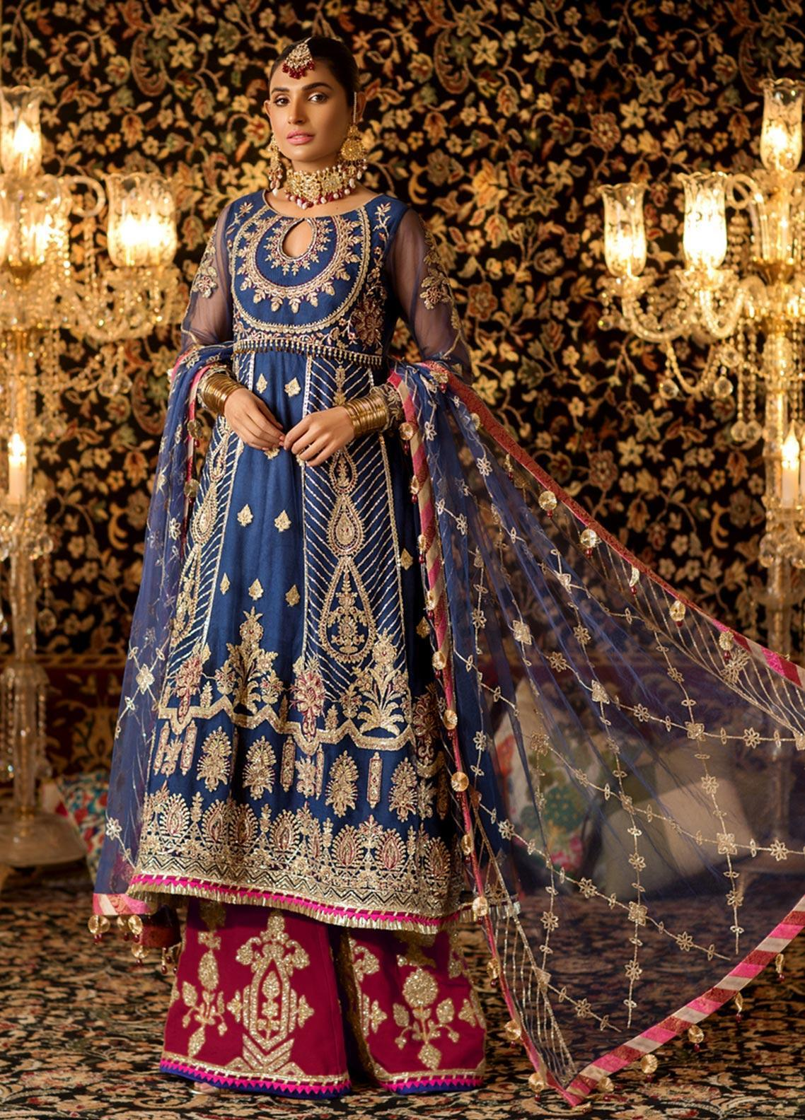 Noor by Saadia Asad Embroidered Net Unstitched 3 Piece Suit NO19WE 1 - Wedding Collection