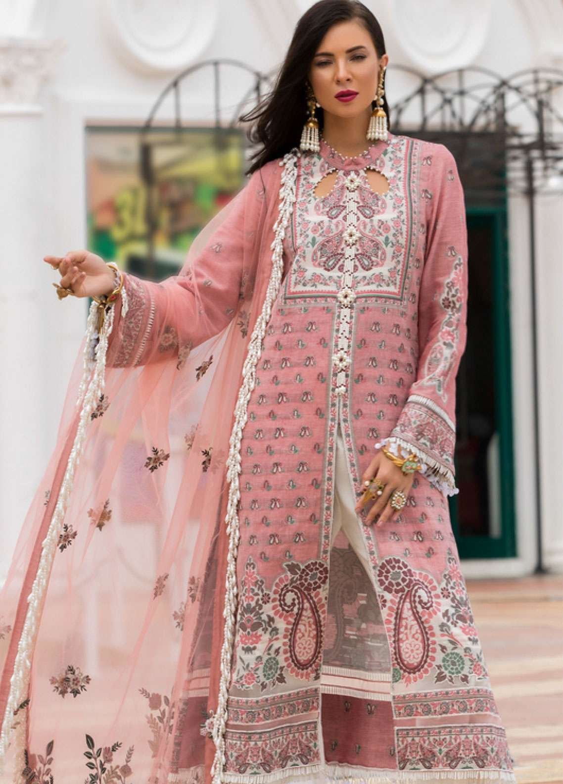 b6b544fcbf Saadia Asad Embroidered Yarn Dyed Woven Jacquard Lawn Unstitched 3 Piece  Suit NSA19F 06 - Festive
