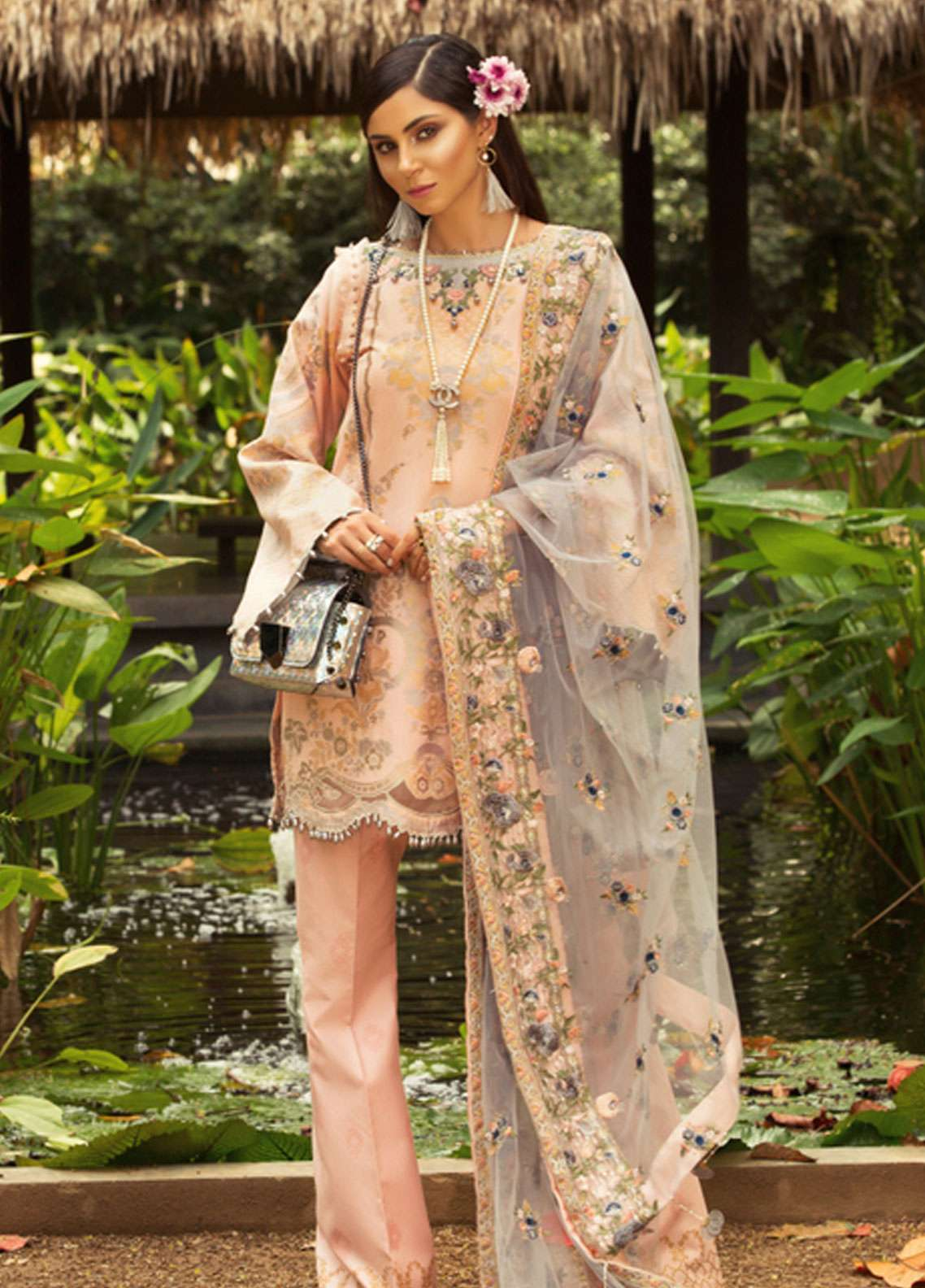 Noor by Saadia Asad Embroidered Jacquard Unstitched 3 Piece Suit NSA19L 11B - Spring / Summer Collection