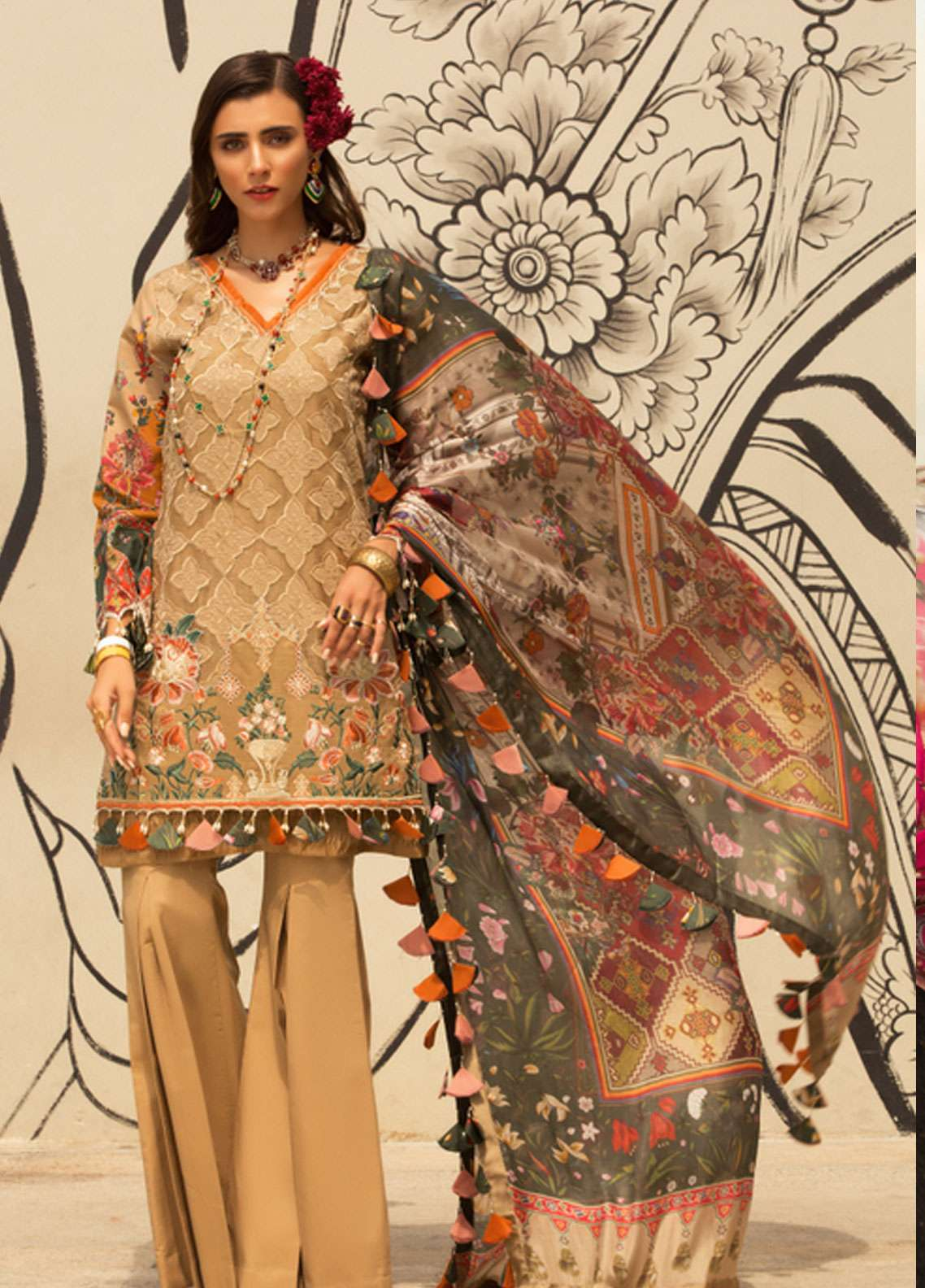 3f0c55ced0 Noor by Saadia Asad Embroidered Cotton Net Unstitched 3 Piece Suit NSA19L  1B - Spring / Summer Collection