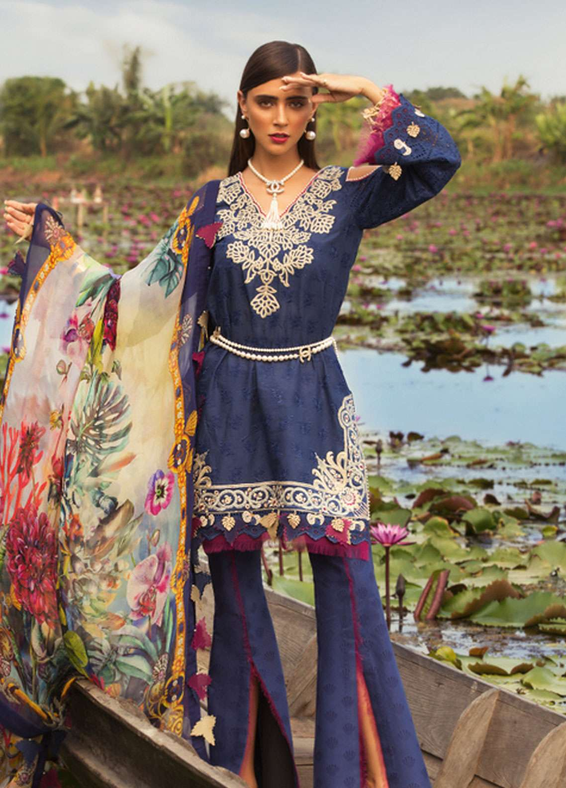 9854ca6a37 Noor by Saadia Asad Embroidered Lawn Unstitched 3 Piece Suit NSA19L 4A -  Spring / Summer Collection