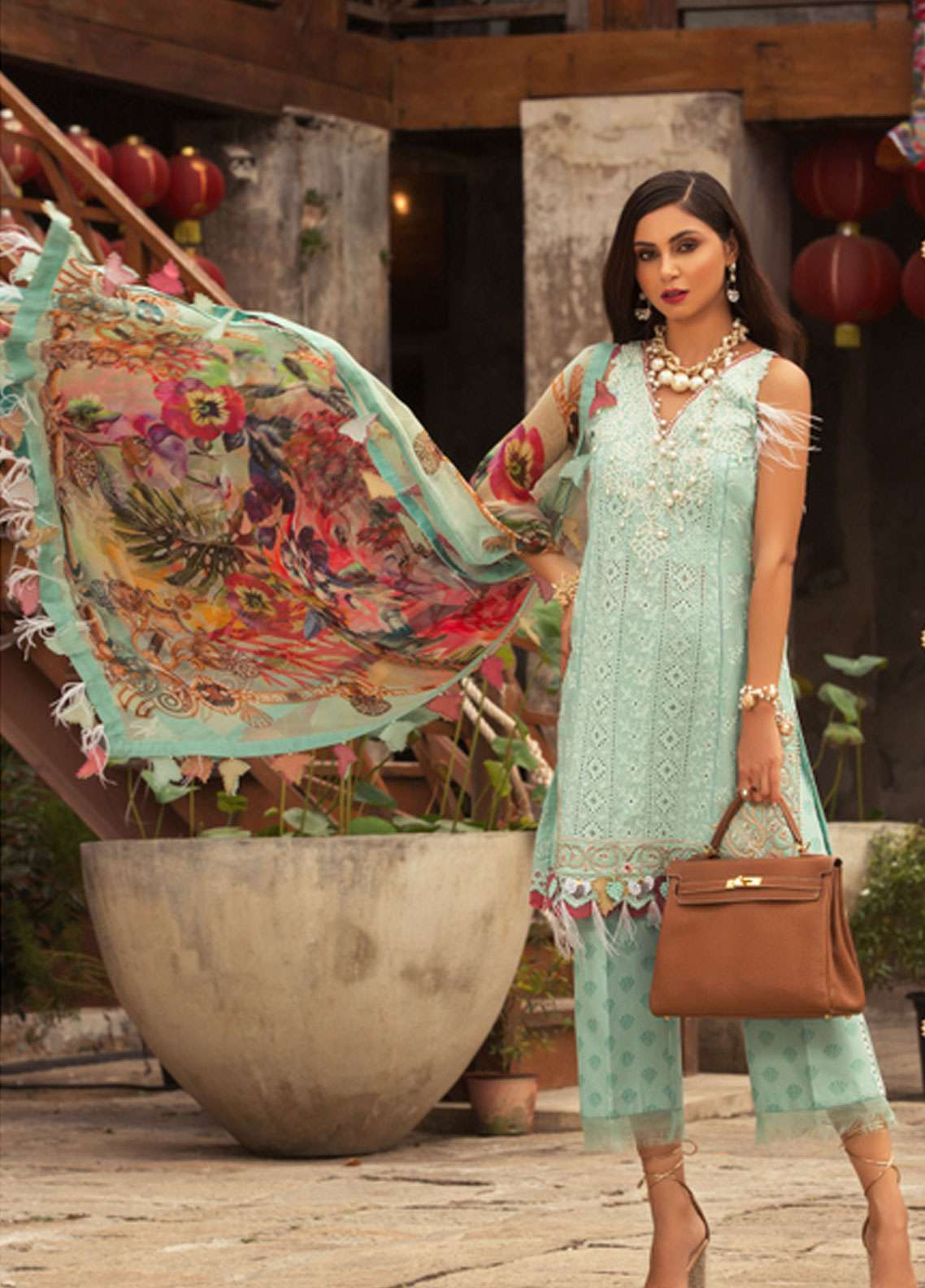 1072b414f5 Noor by Saadia Asad Embroidered Lawn Unstitched 3 Piece Suit NSA19L 4B -  Spring / Summer Collection