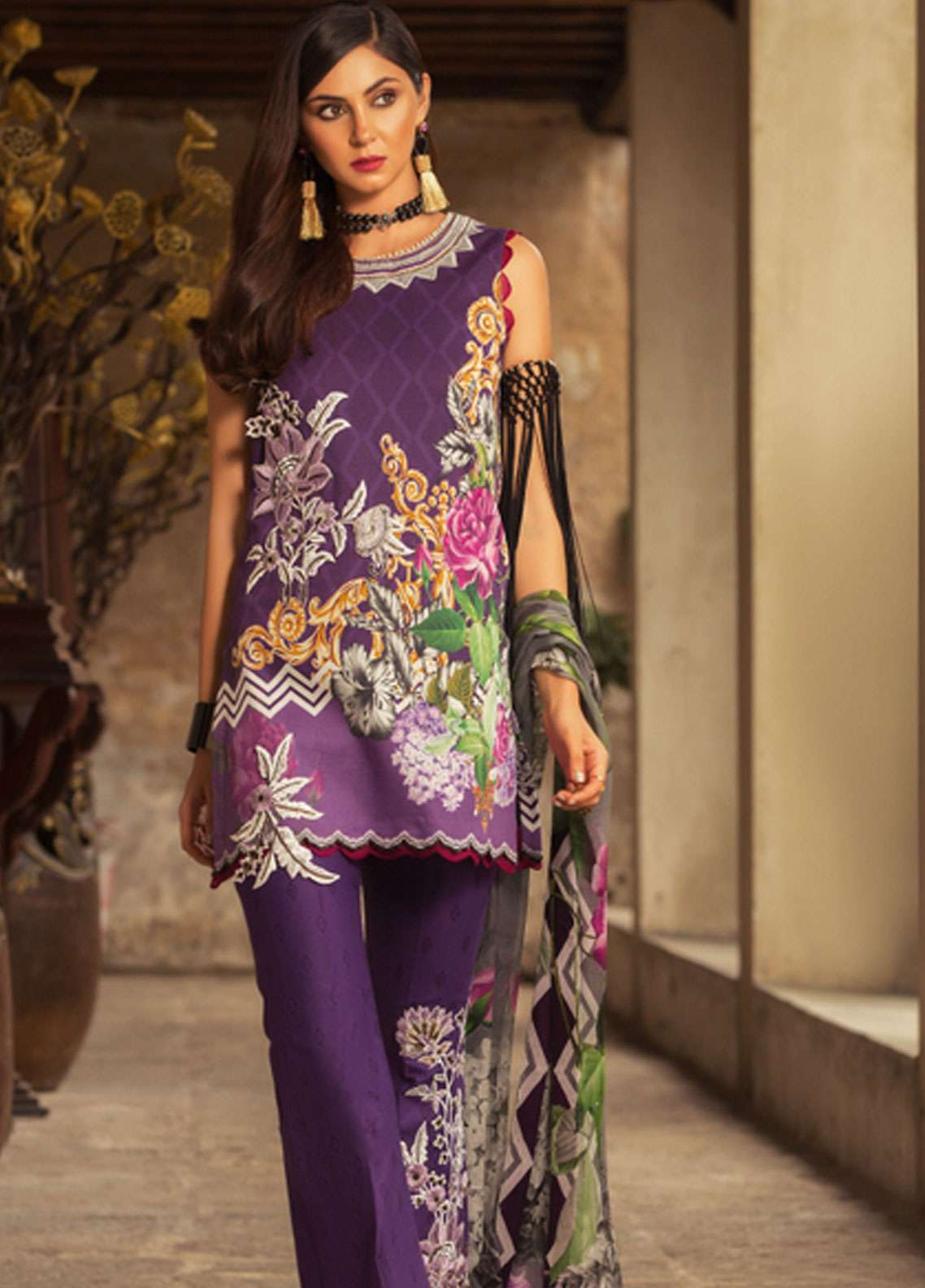 6251a3f0f6 Noor by Saadia Asad Embroidered Lawn Unstitched 3 Piece Suit NSA19L 8B -  Spring / Summer Collection