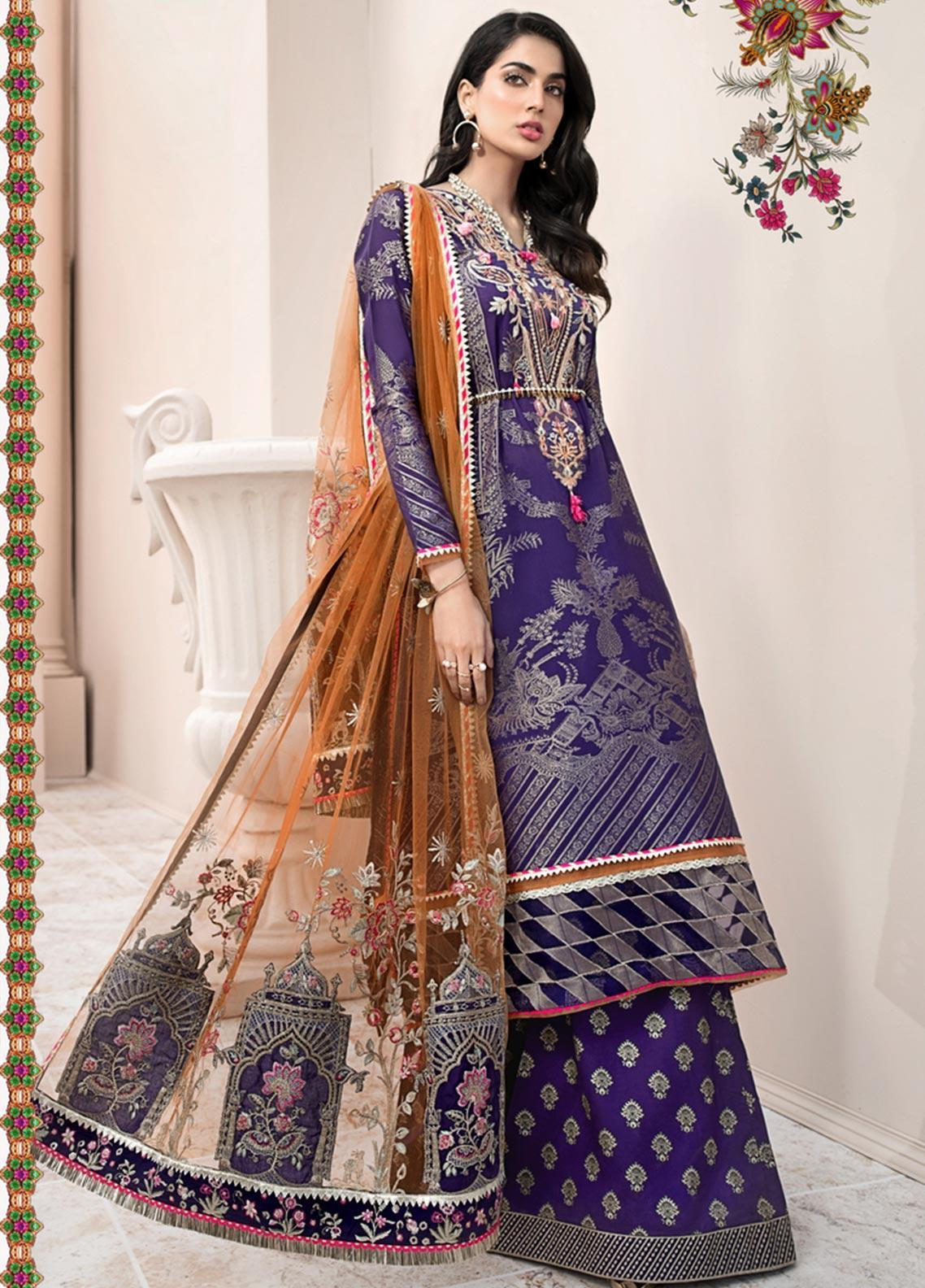 Noor by Saadia Asad Embroidered Jacquard Unstitched 3 Piece Suit SA20NL D10 B - Luxury Collection