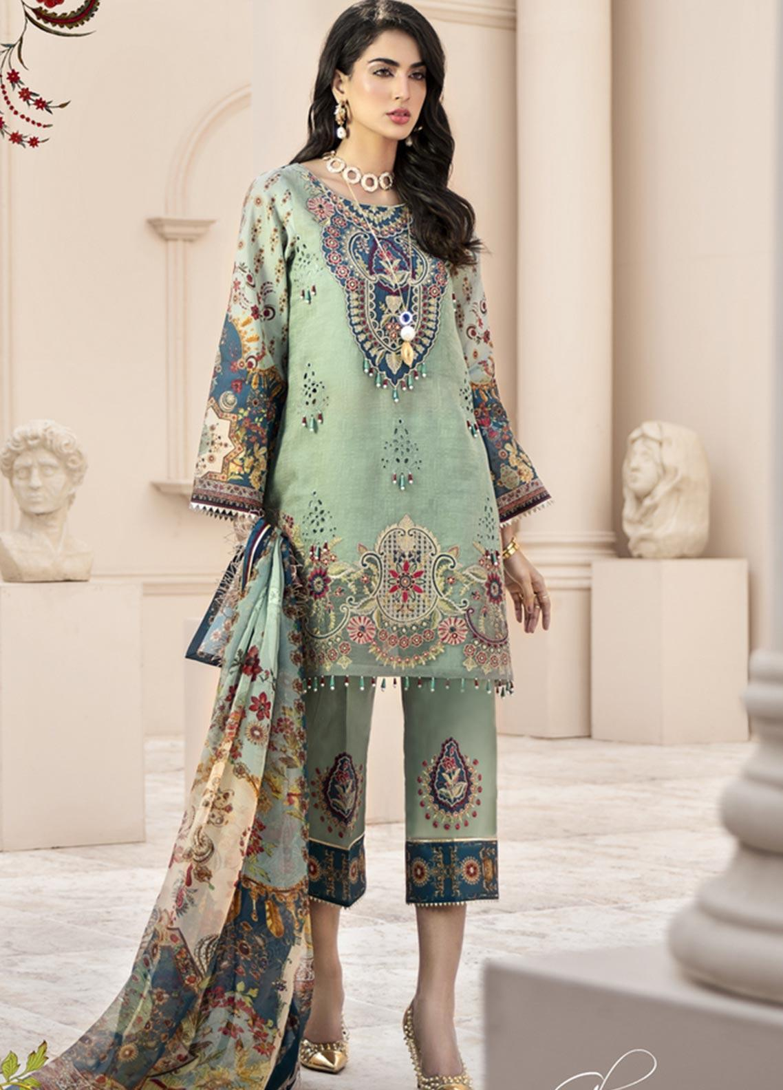 Noor by Saadia Asad Embroidered Lawn Unstitched 3 Piece Suit SA20NL D12 B - Luxury Collection