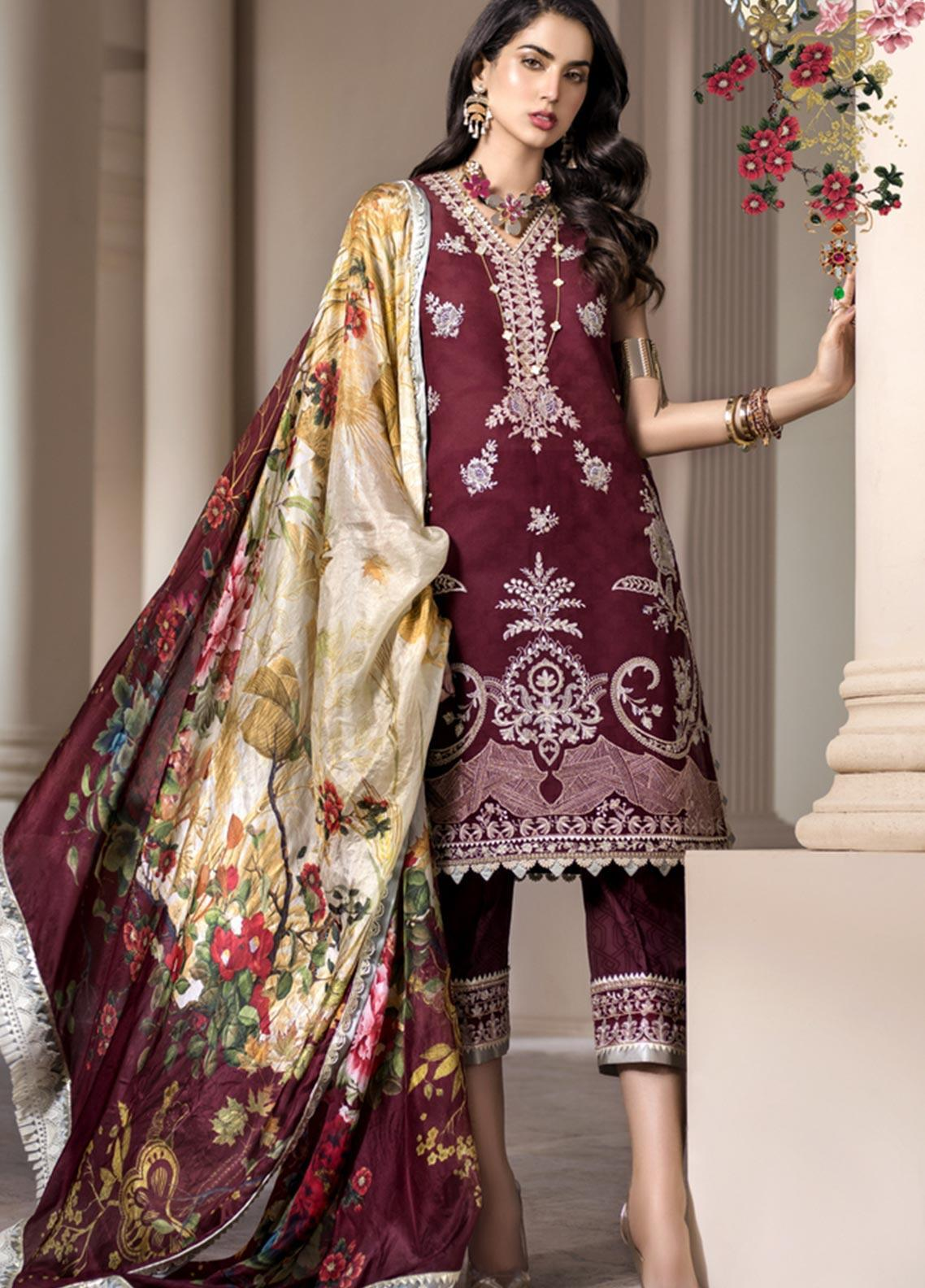 Noor by Saadia Asad Embroidered Jacquard Unstitched 3 Piece Suit SA20NL D8 B - Luxury Collection
