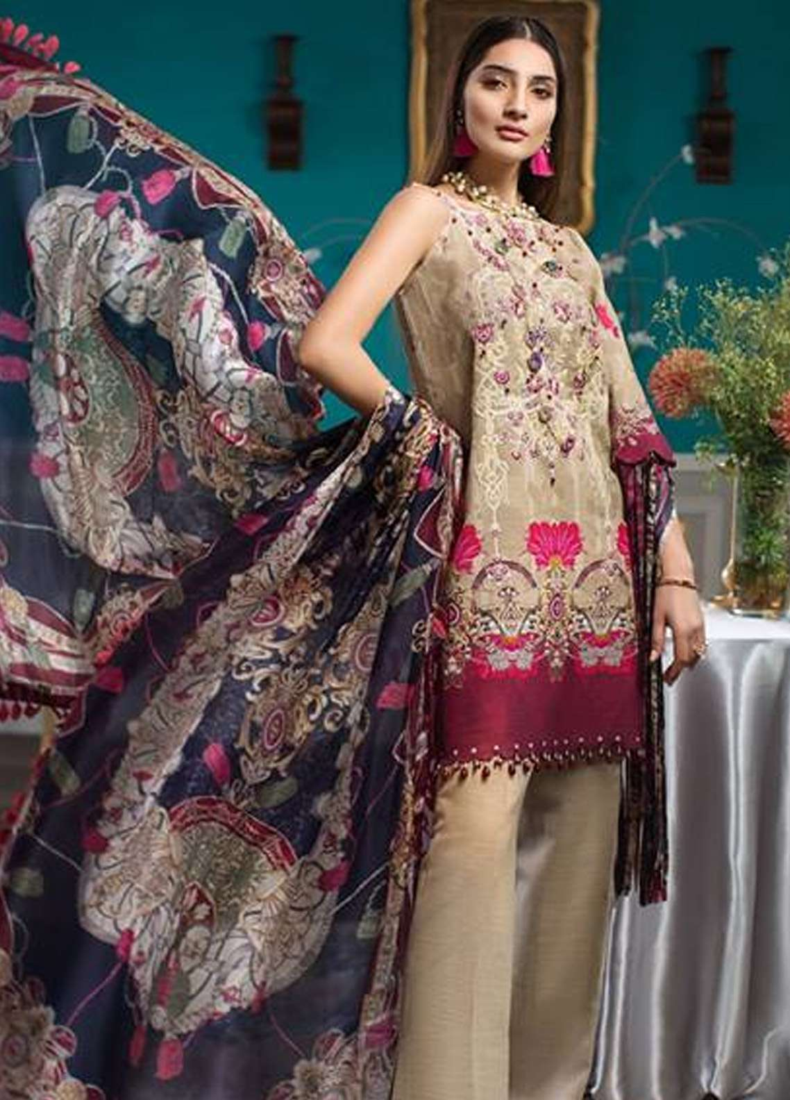 Noor By Saadia Asad Embroidered Khaddar Unstitched 3 Piece Suit NO18W 6 Epanoui - Winter Shawl Collection