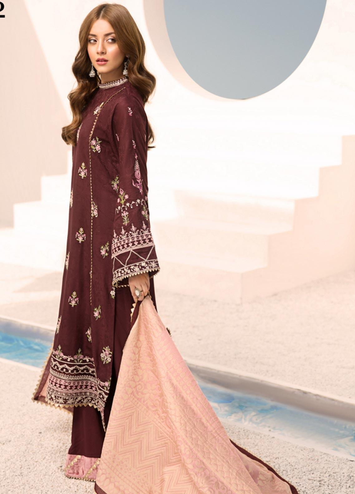 Noor by Saadia Asad Embroidered Linen Unstitched 3 Piece Suit NO19W 2 - Winter Collection