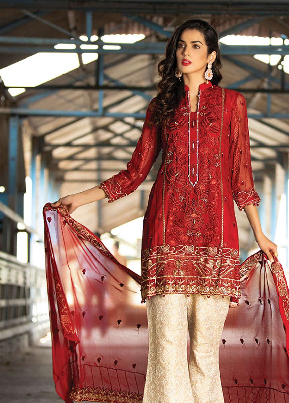 Noorma Kamal Embroidered Chiffon Unstitched 3 Piece Suit NK19F 03 RUBY GOLD - Festive Collection