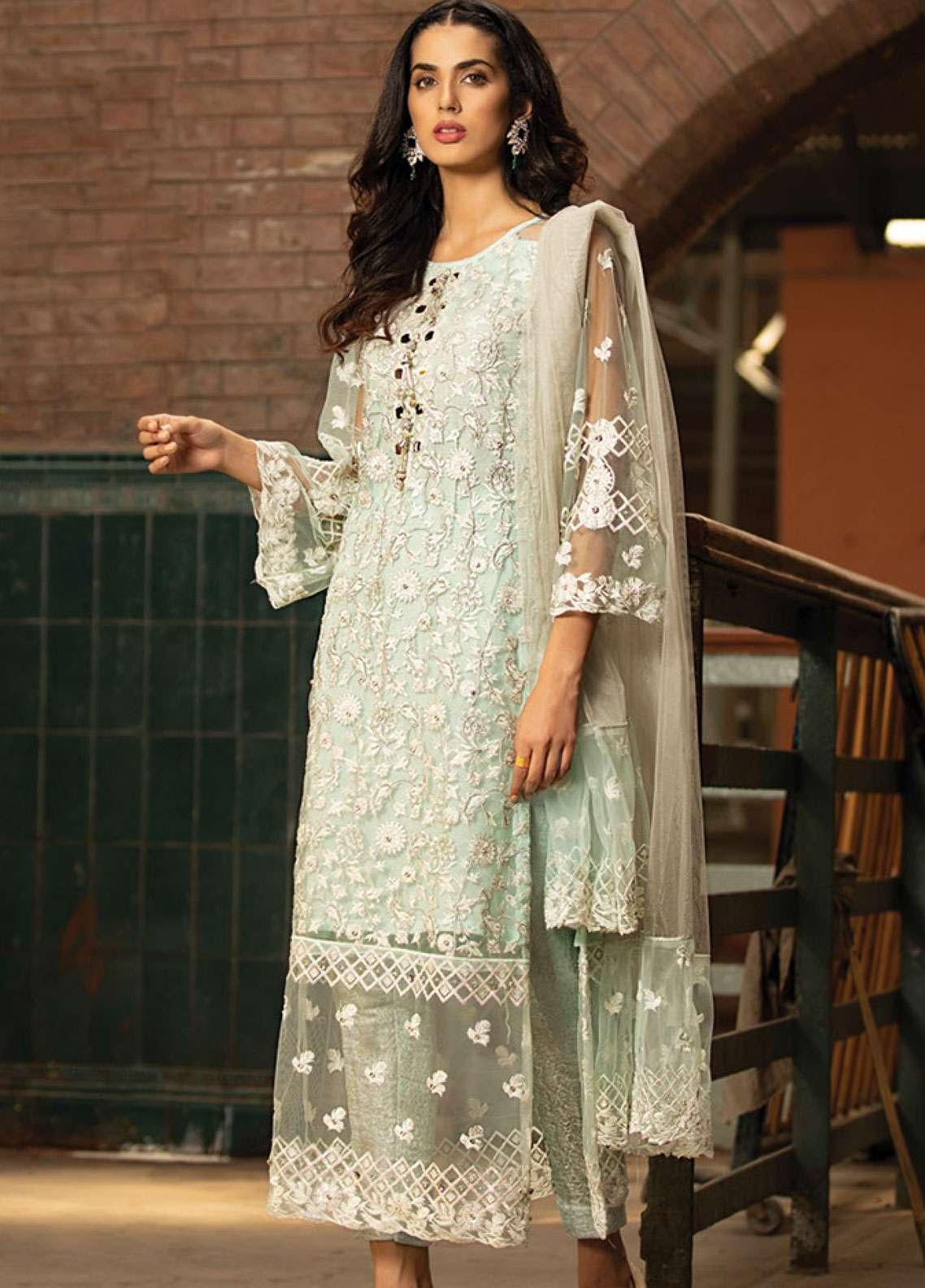 Noorma Kamal Embroidered Zari Net Unstitched 3 Piece Suit NK19F 04 AQUA MARINA - Festive Collection