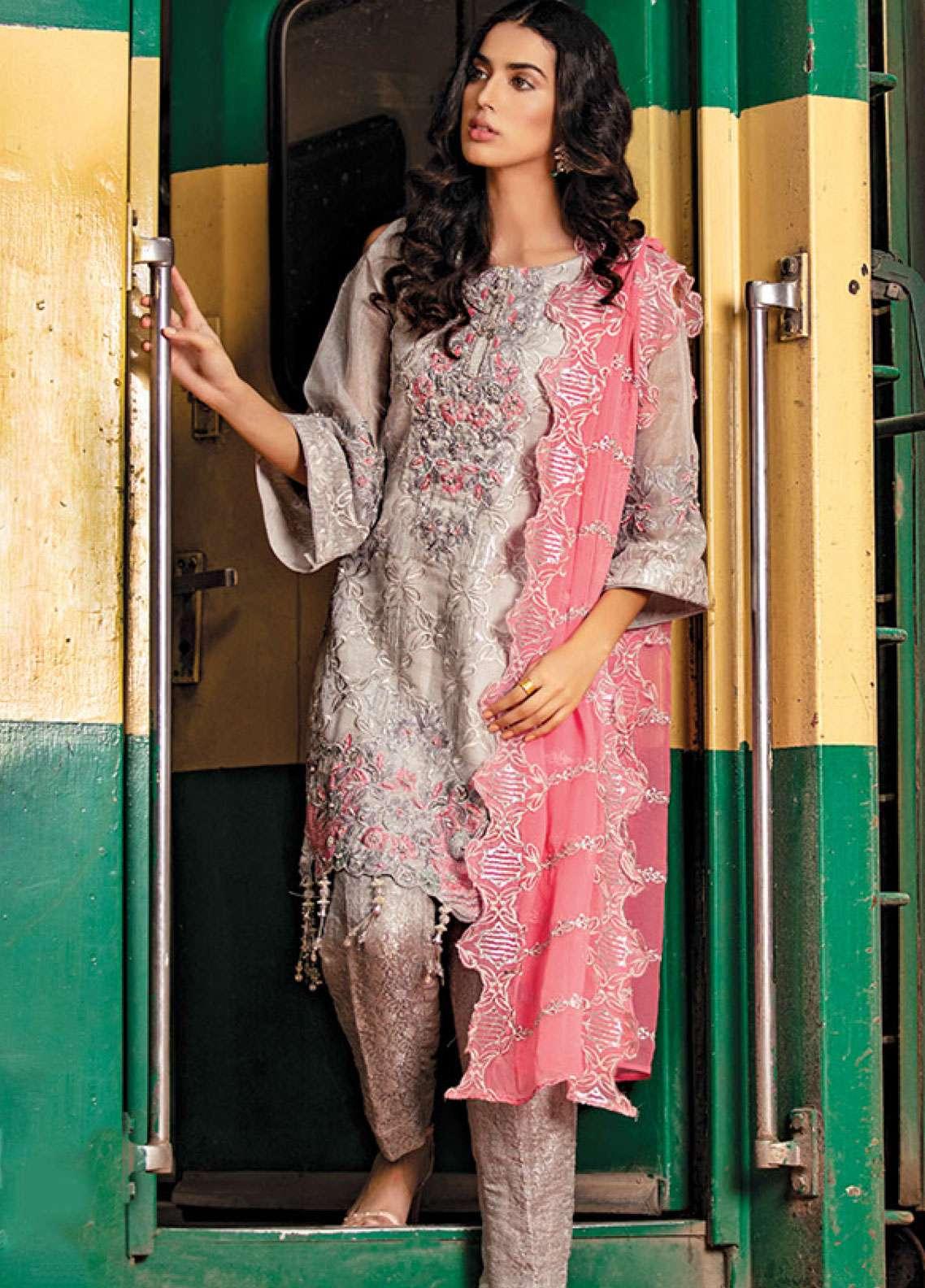 Noorma Kamal Embroidered Zari Net Unstitched 3 Piece Suit NK19F 06 FUSCHIA FLINT - Festive Collection