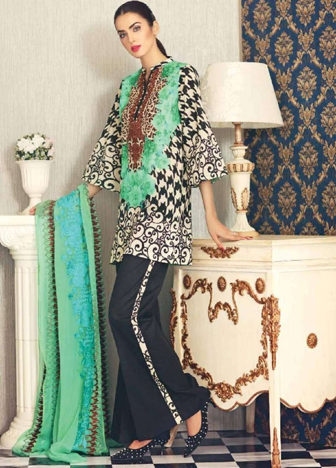 60e31d7a54 Naranji By Charizma Embroidered Lawn Unstitched 3 Piece Suit NR18-L5 CN62 -  Mid Summer Collection
