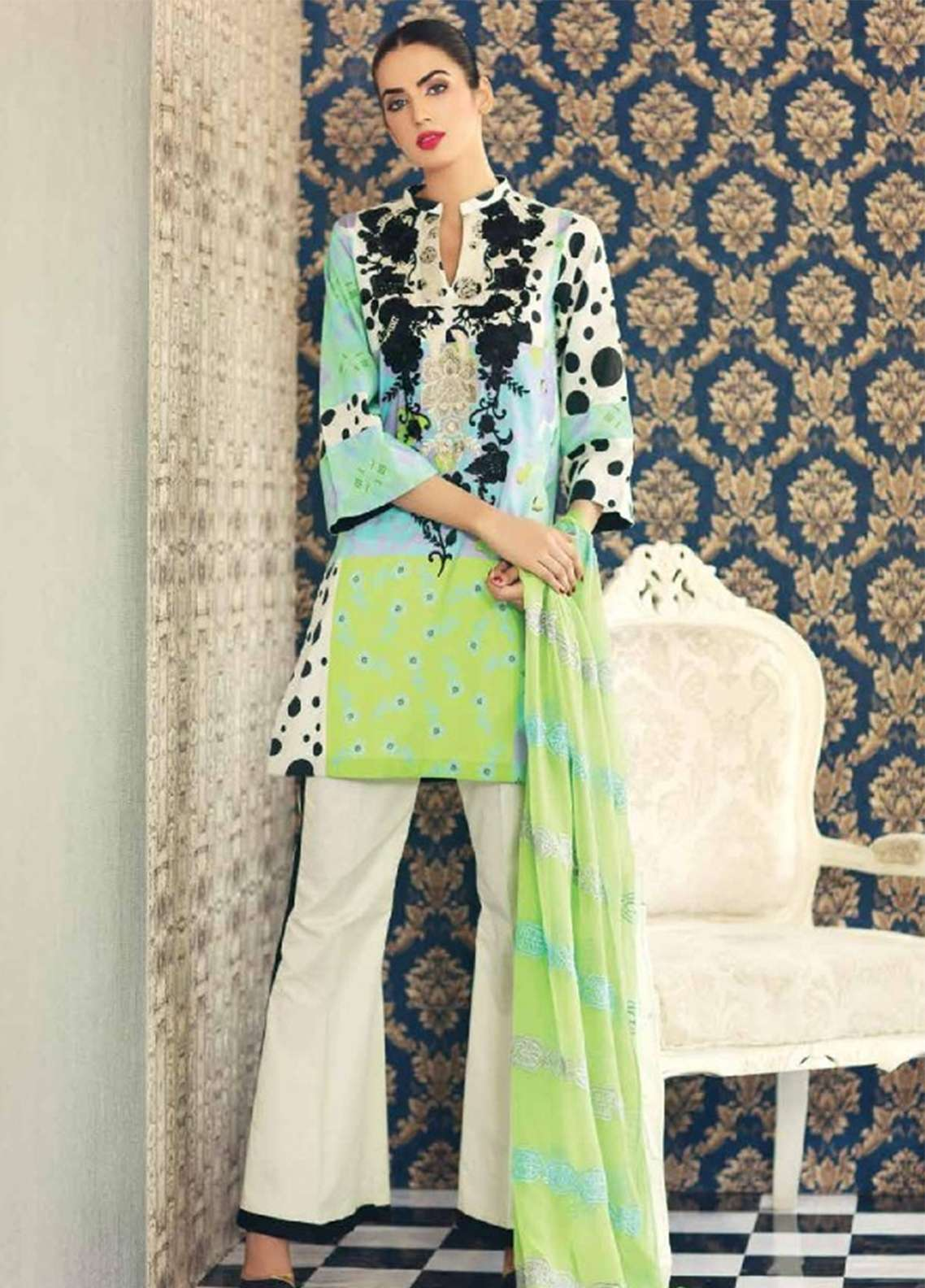 f6d7b4ee0b Naranji By Charizma Embroidered Lawn Unstitched 3 Piece Suit NR18-L5 CN64 -  Mid Summer Collection