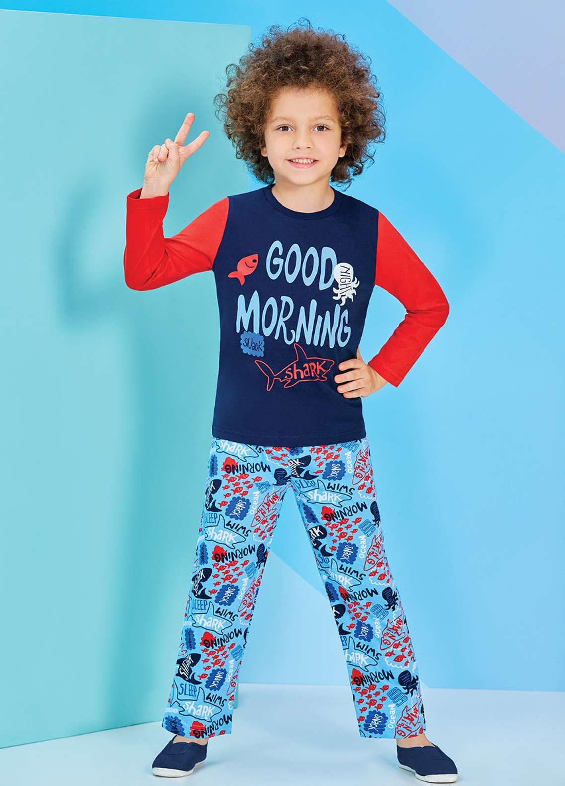Cotton Net Kids Nightwear 2 Piece NS18K 1200 NAVY BLUE