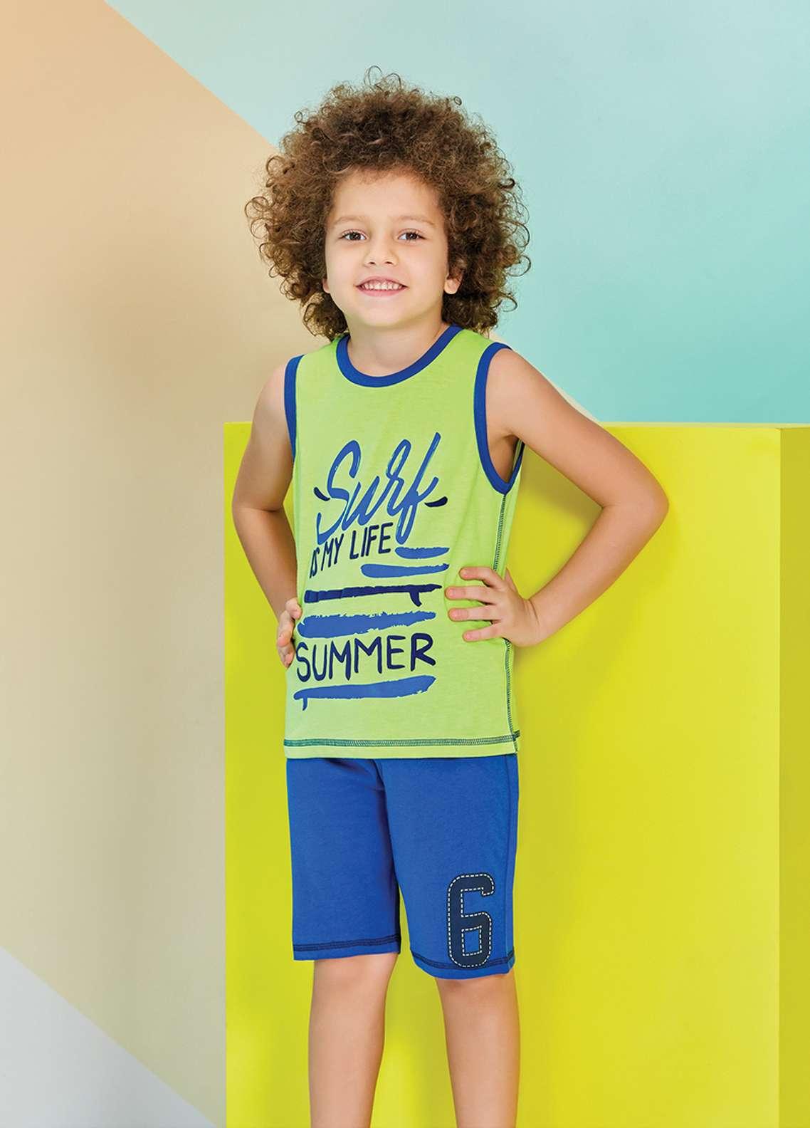 Cotton Net Kids Nightwear 2 Piece NS18K 1217 GREEN