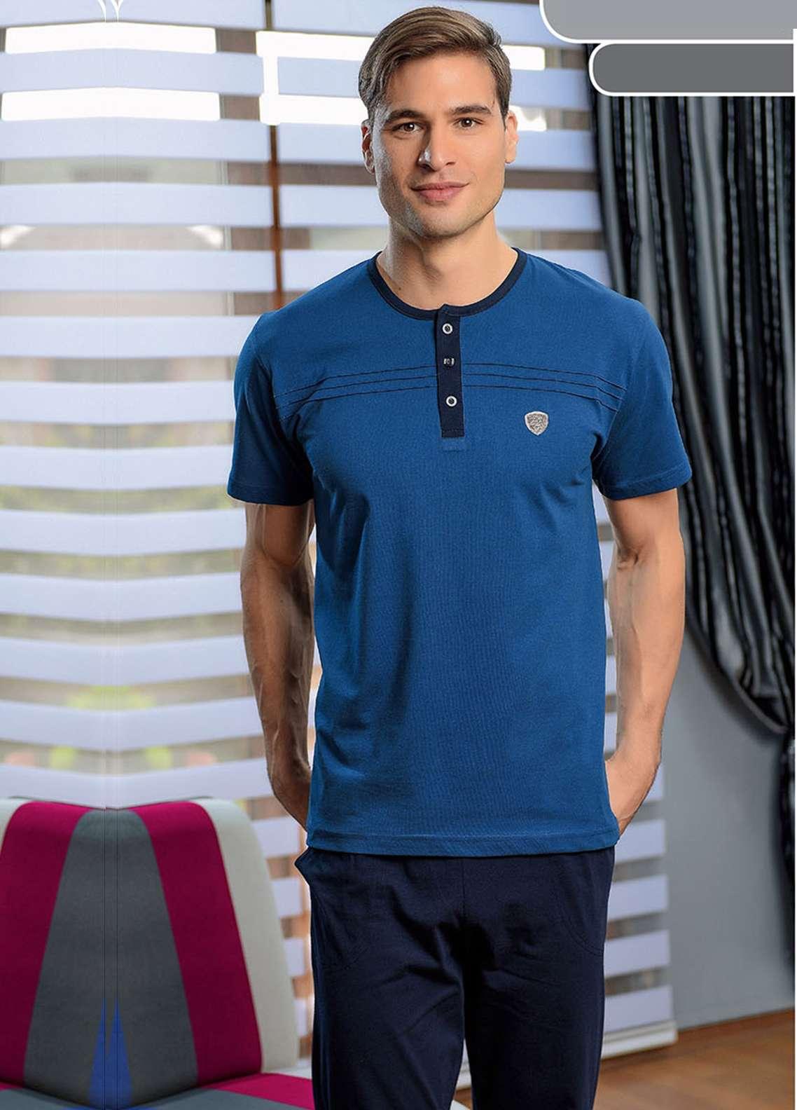Cotton Net Men Nightwear 2 Piece NS18M 0201 BLUE