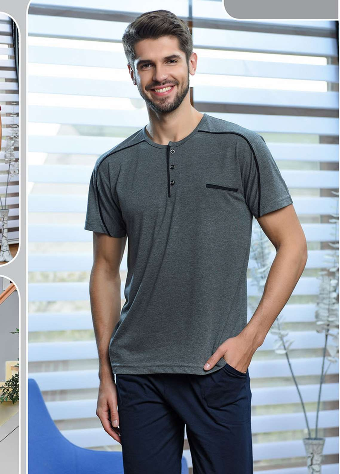 Cotton Net Nightwear for Men 2 Piece NS18M 0816 GREY