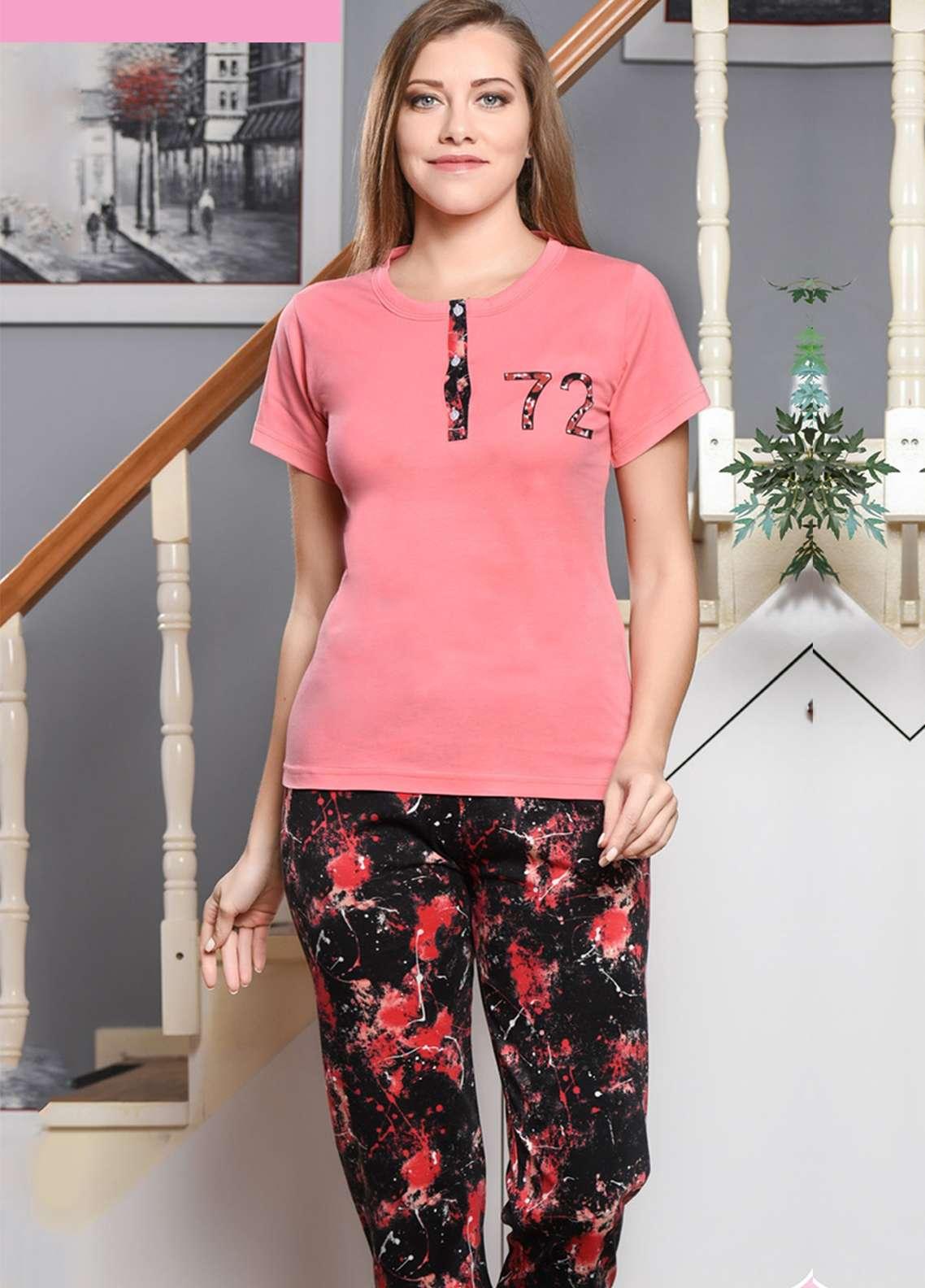 Cotton Net Nightwear for Women 2 Piece NS18W 0308 PINK