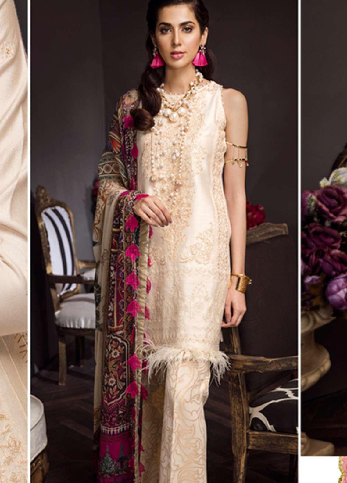 Noor By Saadia Asad Embroidered Silk Net Unstitched 3 Piece Suit NSA18C 06 - Noor Bano 2018 Collection