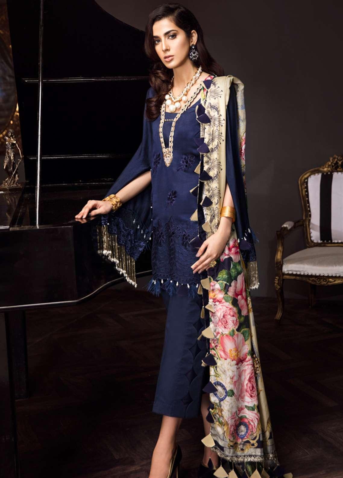 Noor By Saadia Asad Embroidered Silk Net Unstitched 3 Piece Suit NSA18C 09 - Noor Bano 2018 Collection