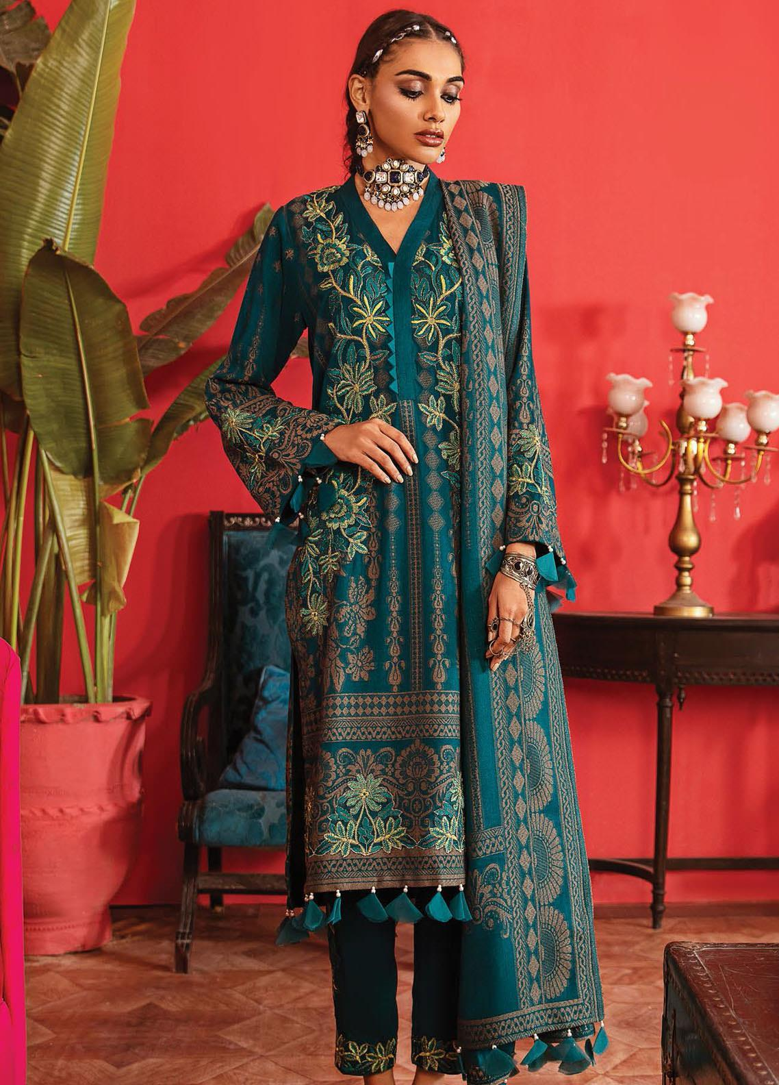 Nureh Embroidered Leather Unstitched 3 Piece Suit N20LJ 12 - Winter Collection