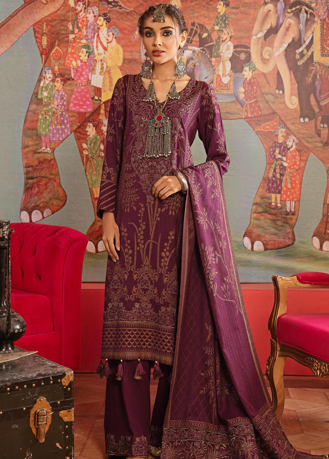 Nureh Embroidered Leather Unstitched 3 Piece Suit N20LJ 14 - Winter Collection