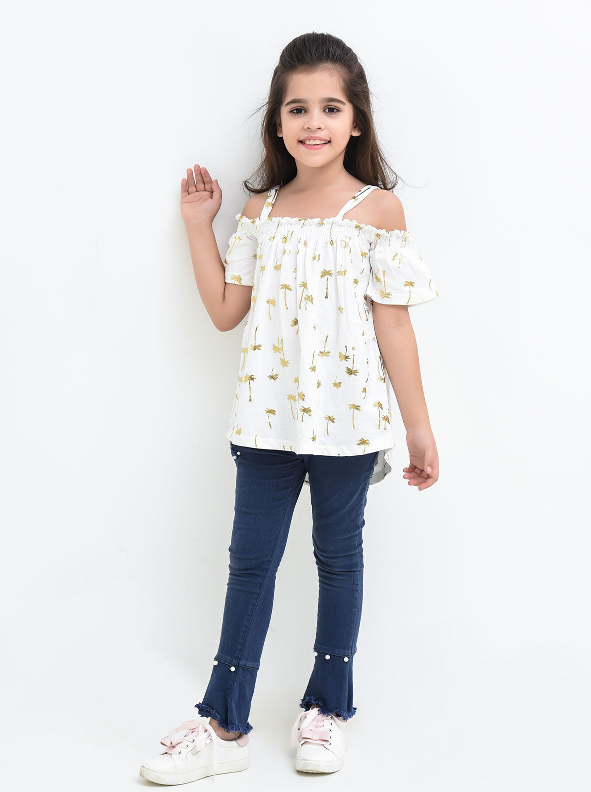 Ochre Cotton Printed Top for Girls -  OGK 52 Off White