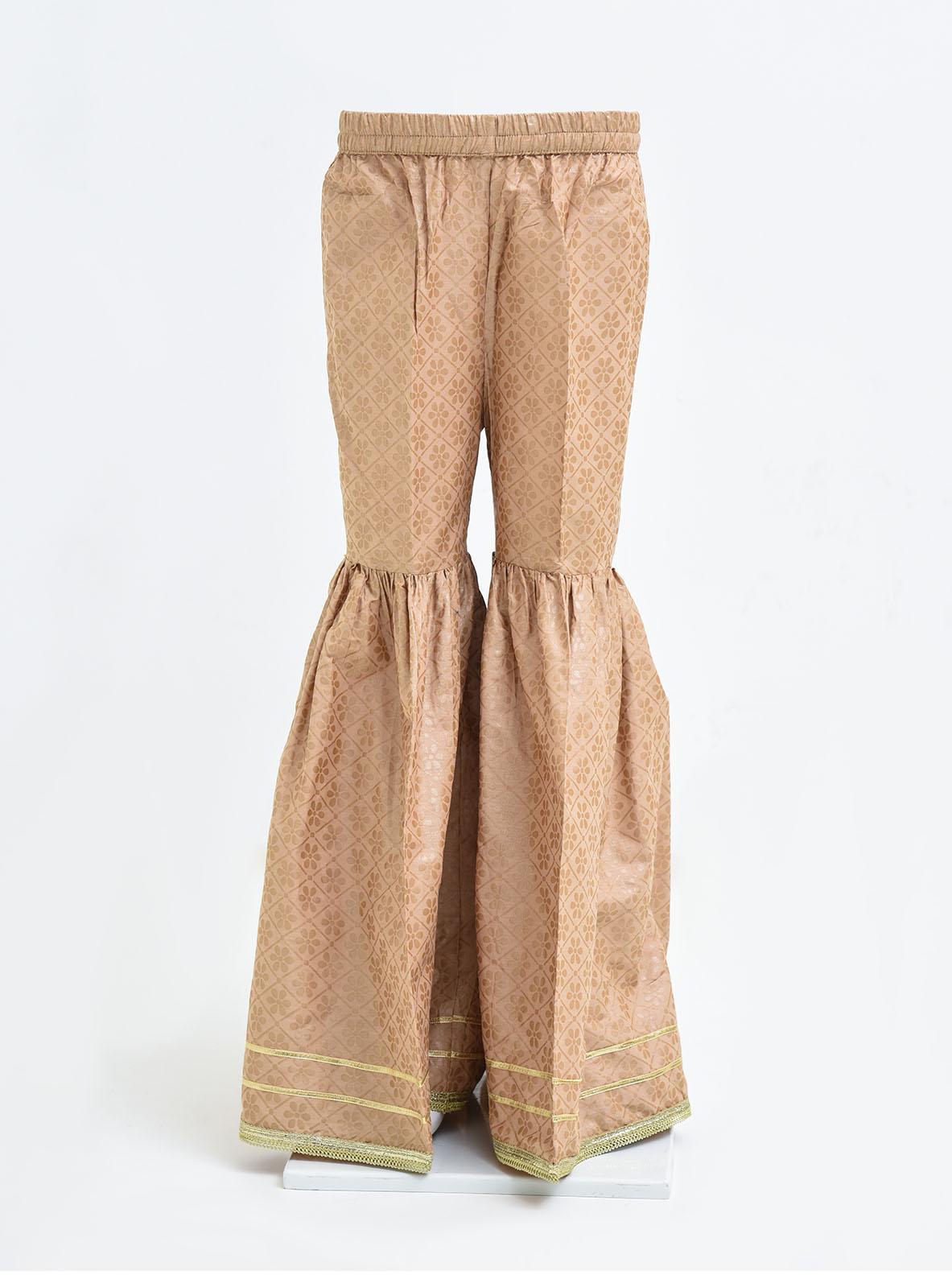 Ochre Cotton Printed Girls Gharara -  OGP 08 Beige