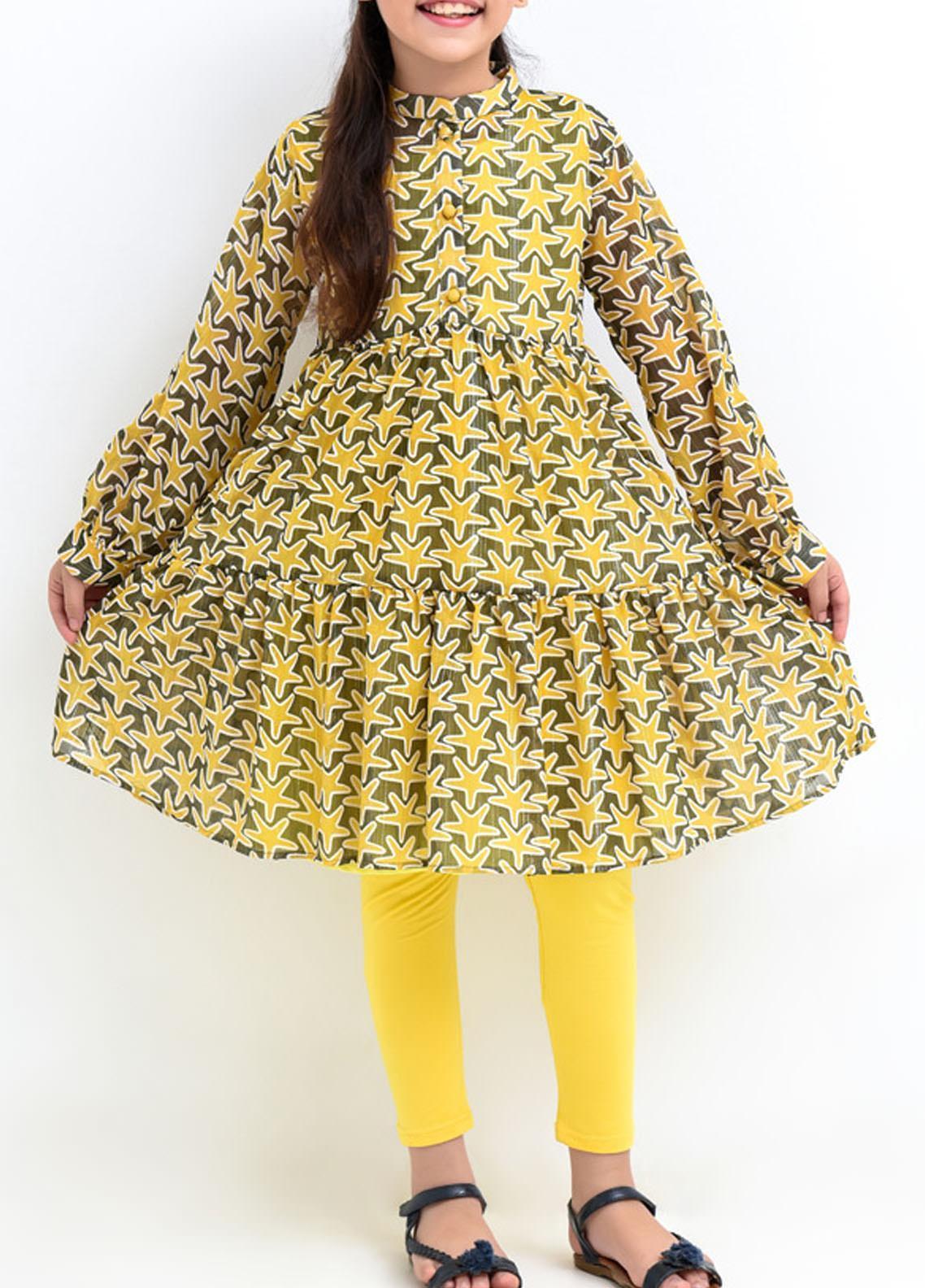 Ochre Chiffon Western Girls Western Tops - Yellow OWT 363 Yellow