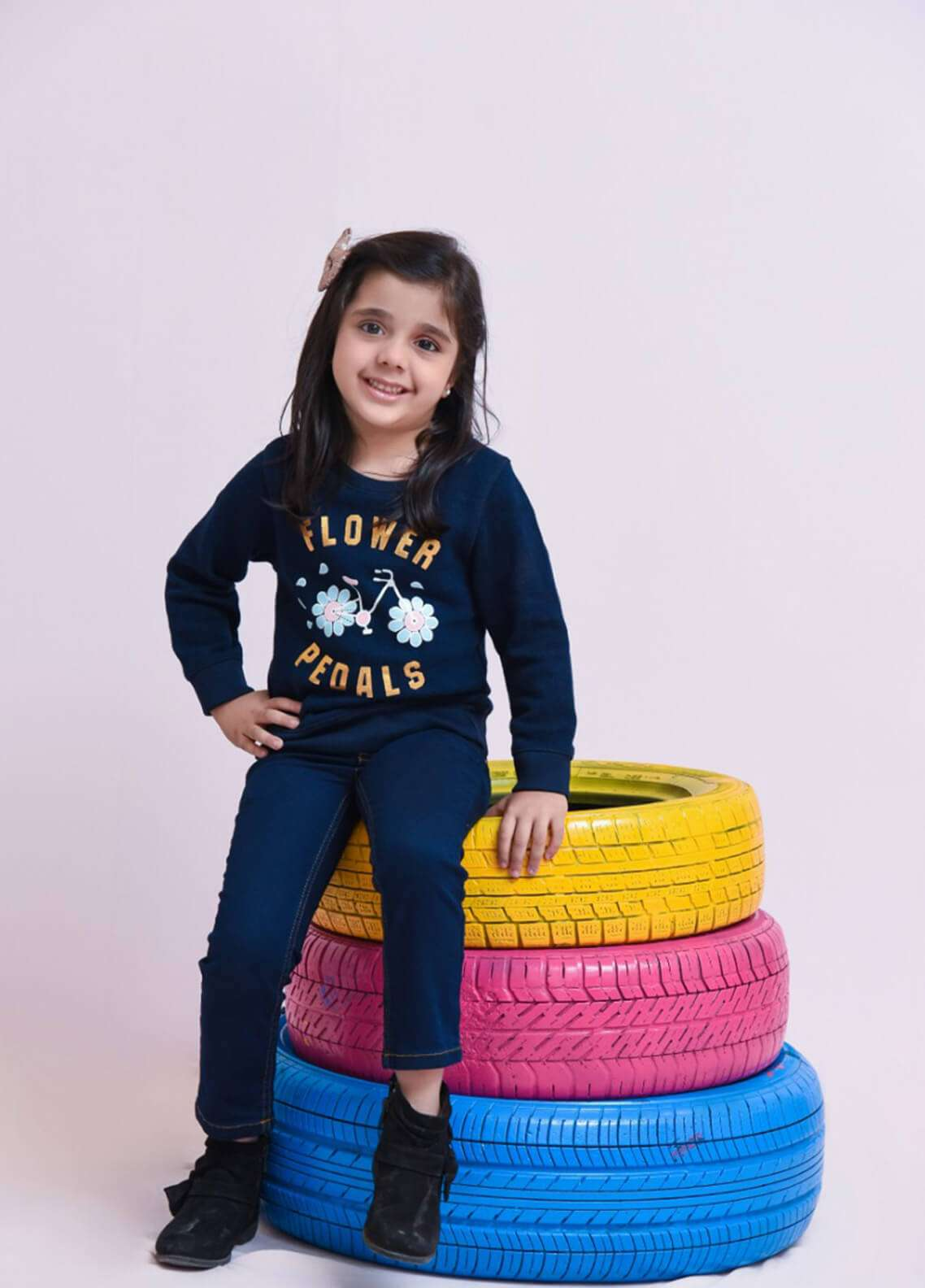 Ochre Cotton Textured Sweatshirt for Girls - Navy Blue OFT 01