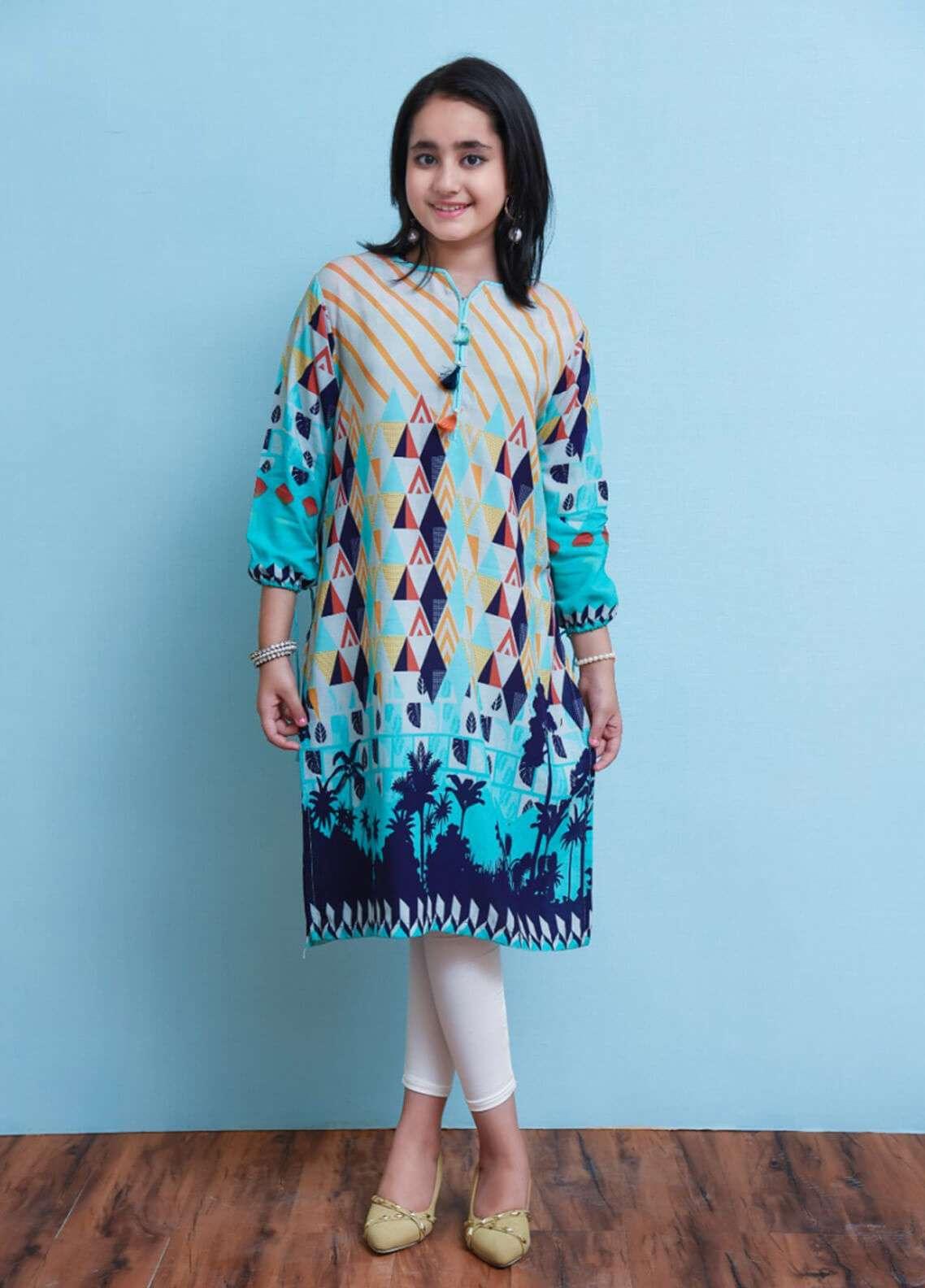 Ochre Cambric Printed Girls Tops - Multi OPL 12