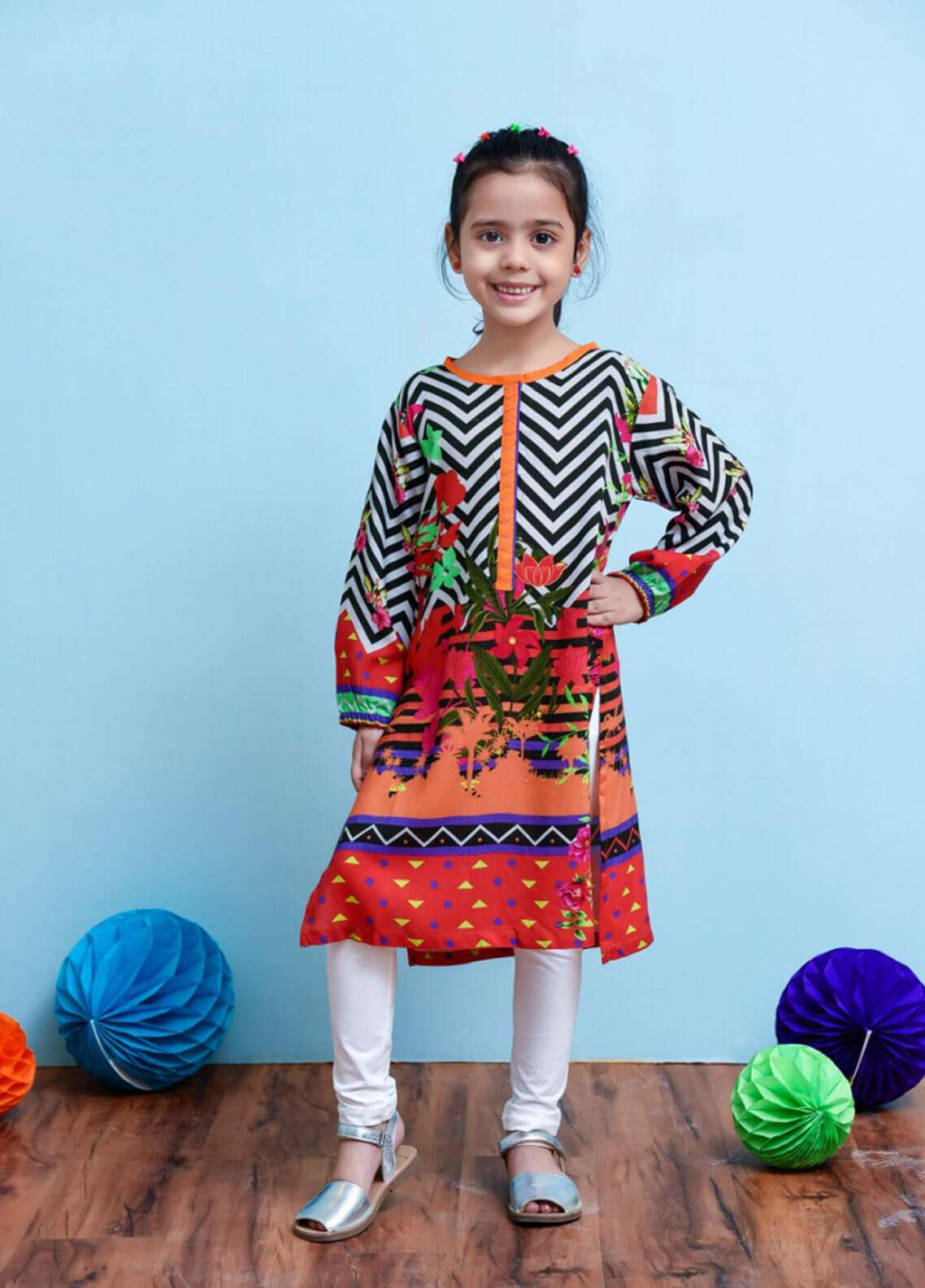 Ochre Cambric Printed Girls Tops - Multi OPL 14