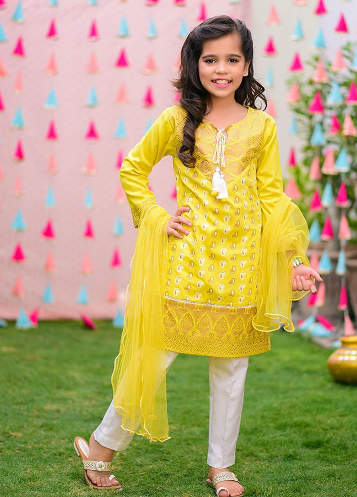 Ochre Cambric Fancy Girls 3 Piece Suits -  OFK 743 Mustard