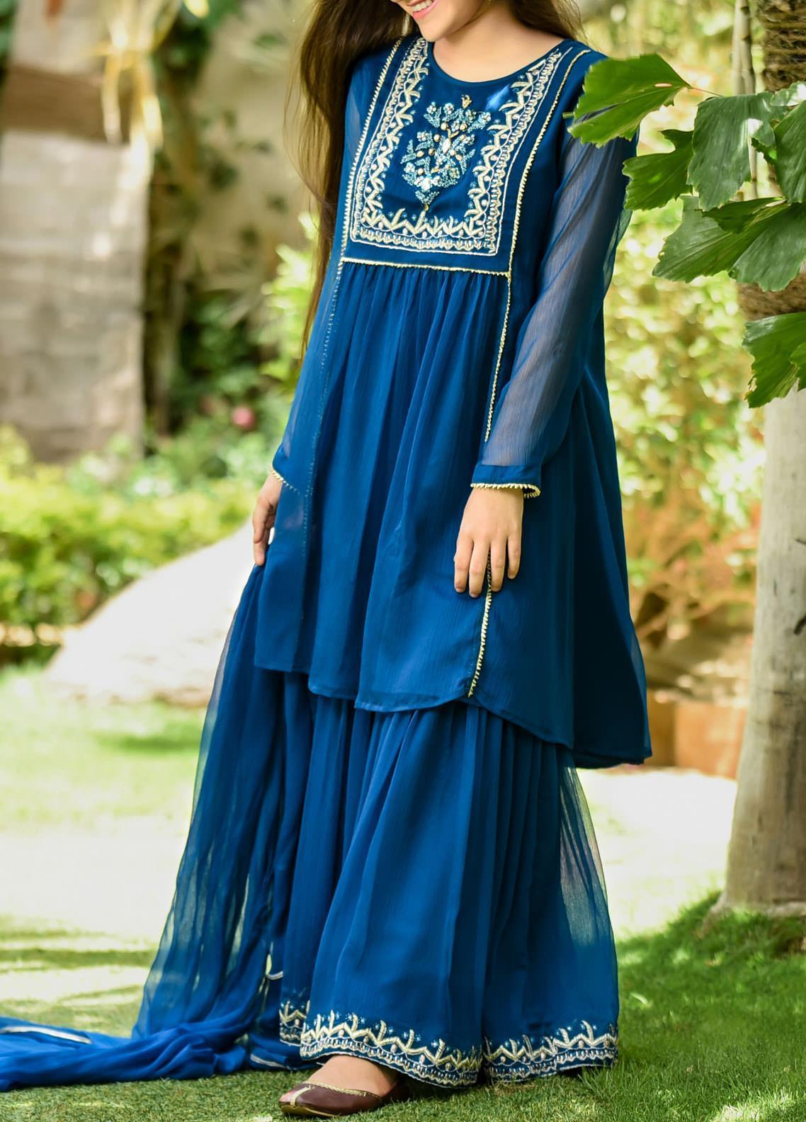 Ochre Chiffon Fancy 3 Piece Suit for Girls -  OFW 282  Teal Blue