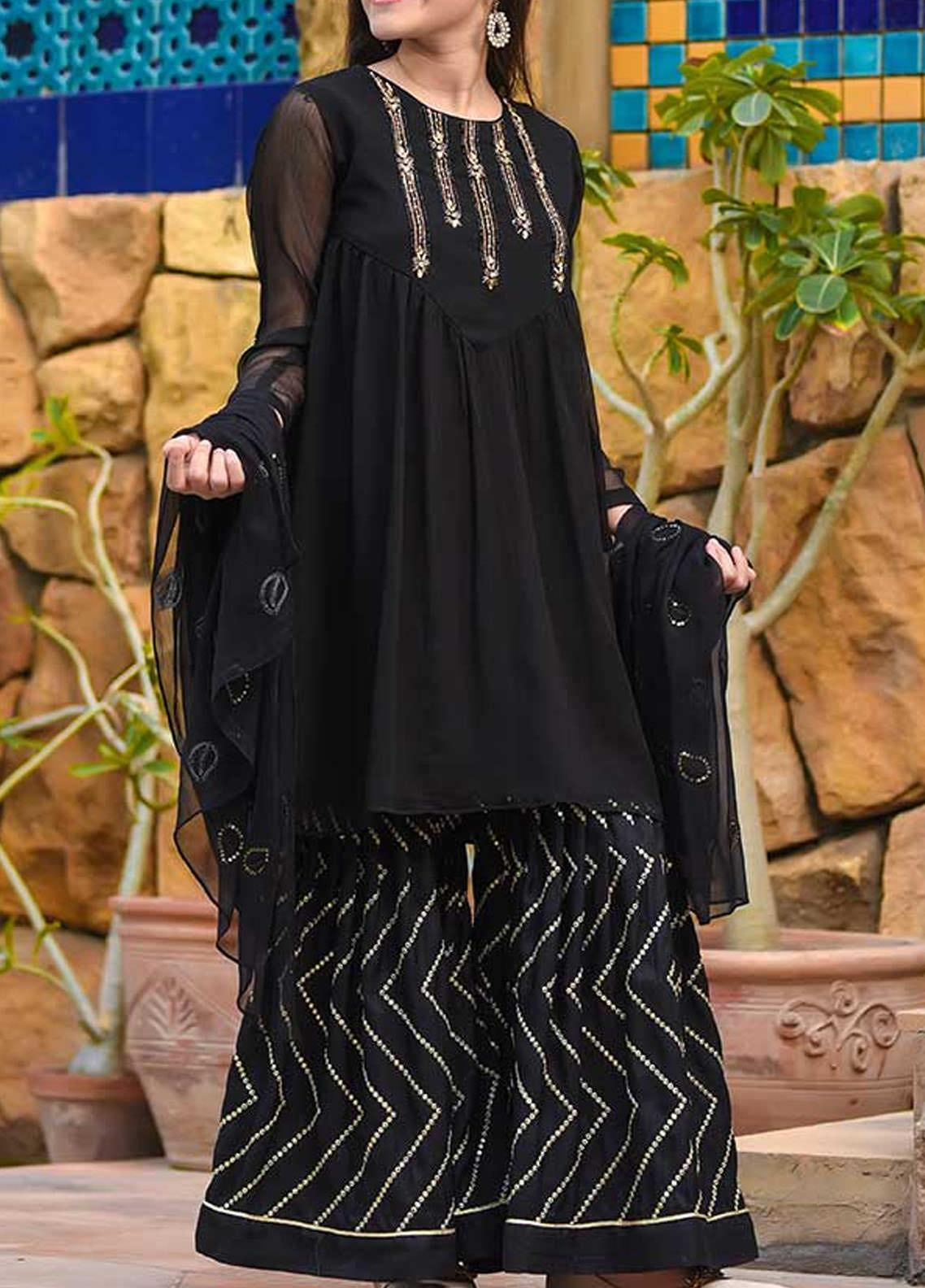 Ochre Chiffon Fancy 3 Piece Suit for Girls - OFW 287 Black