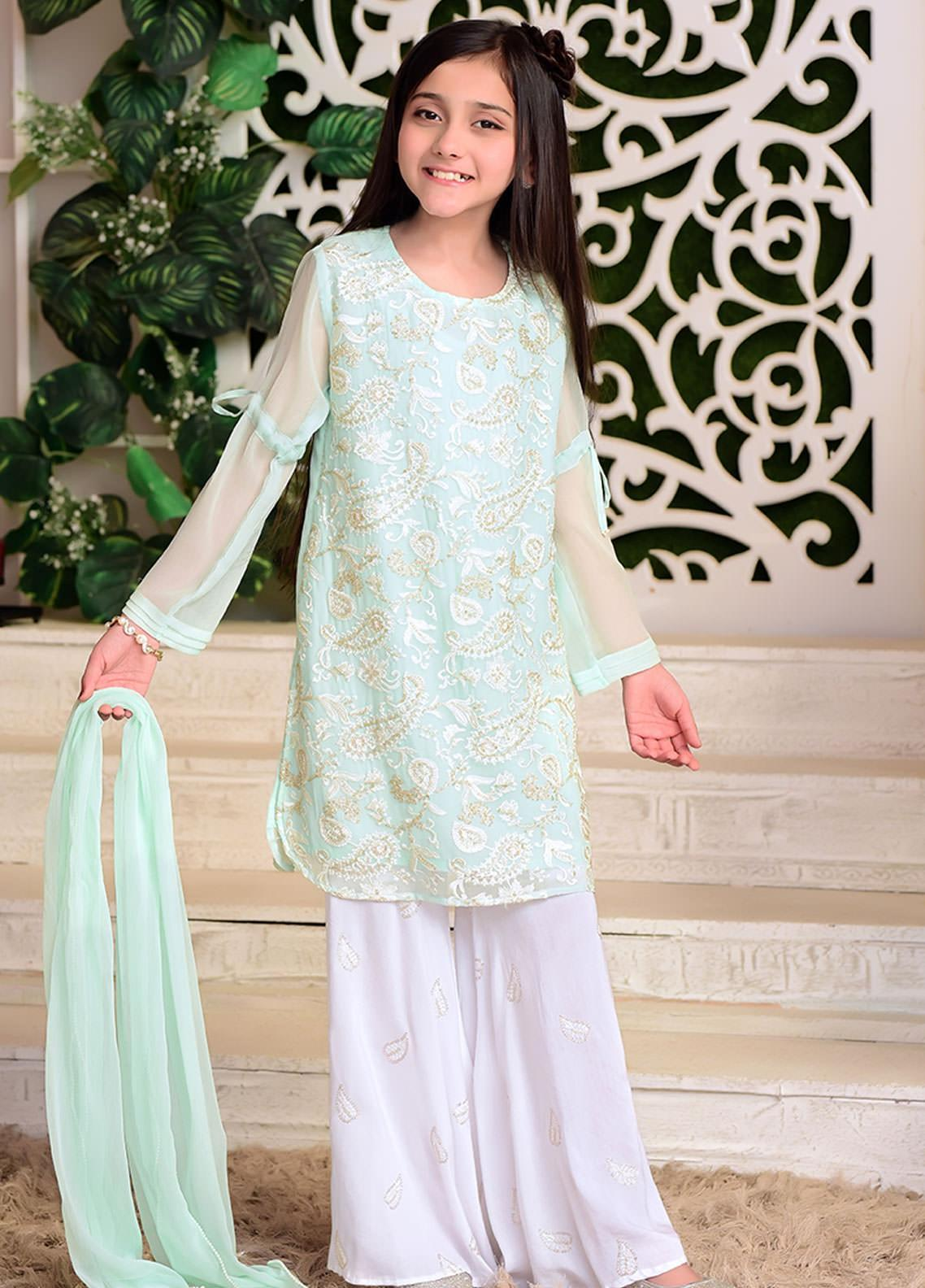 Ochre Chiffon Casual 3 Piece Suit for Girls -  OFW 250 Mint Green