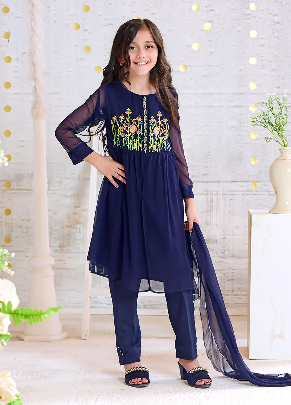 Ochre Chiffon Casual 3 Piece Suit for Girls -  OFW 262 Navy Blue