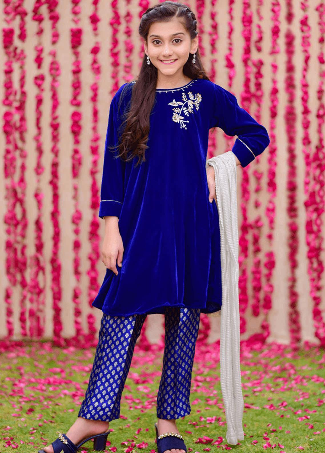 Ochre Velvet Fancy 3 Piece Suits for Girls -  OVF-12 ROYAL BLUE
