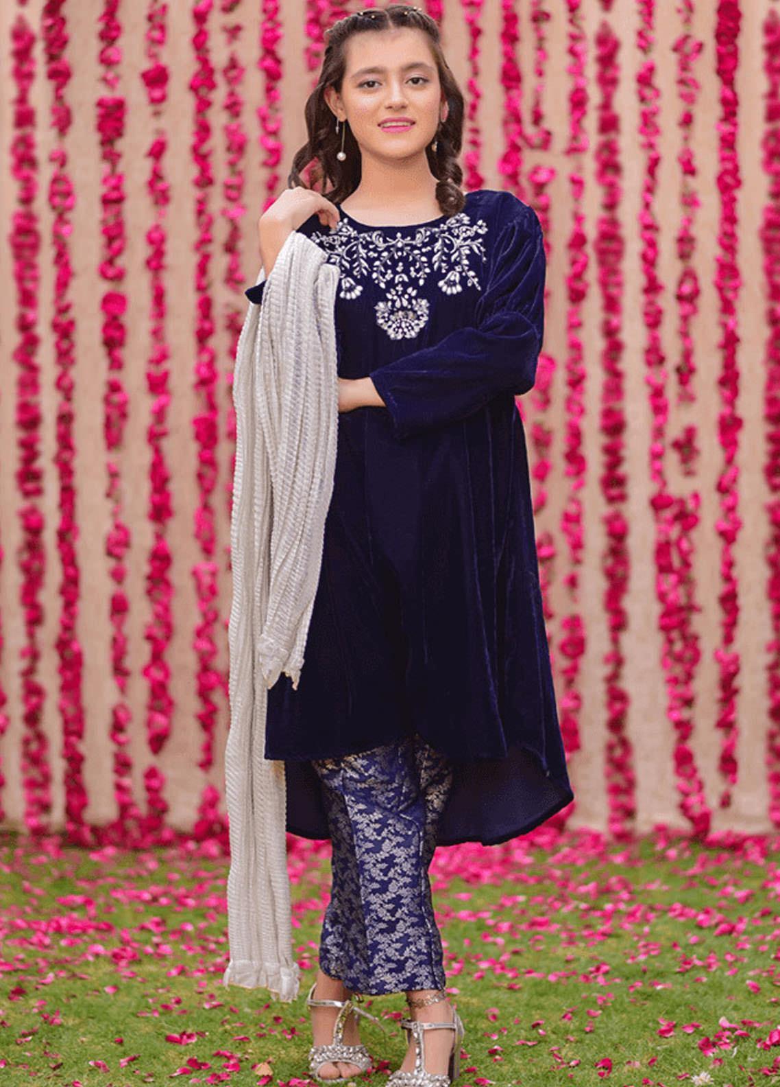 Ochre Velvet Fancy 3 Piece Suits for Girls - OVF-15 NAVY