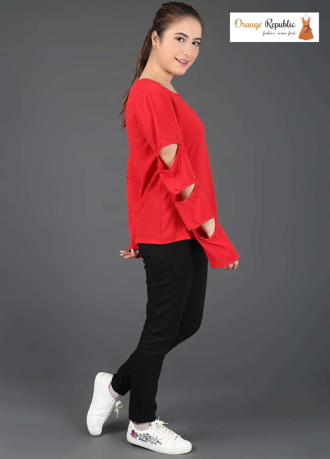 Orange Republic Fancy Style Bubble Chiffon Stitched Tops USA-01 Red