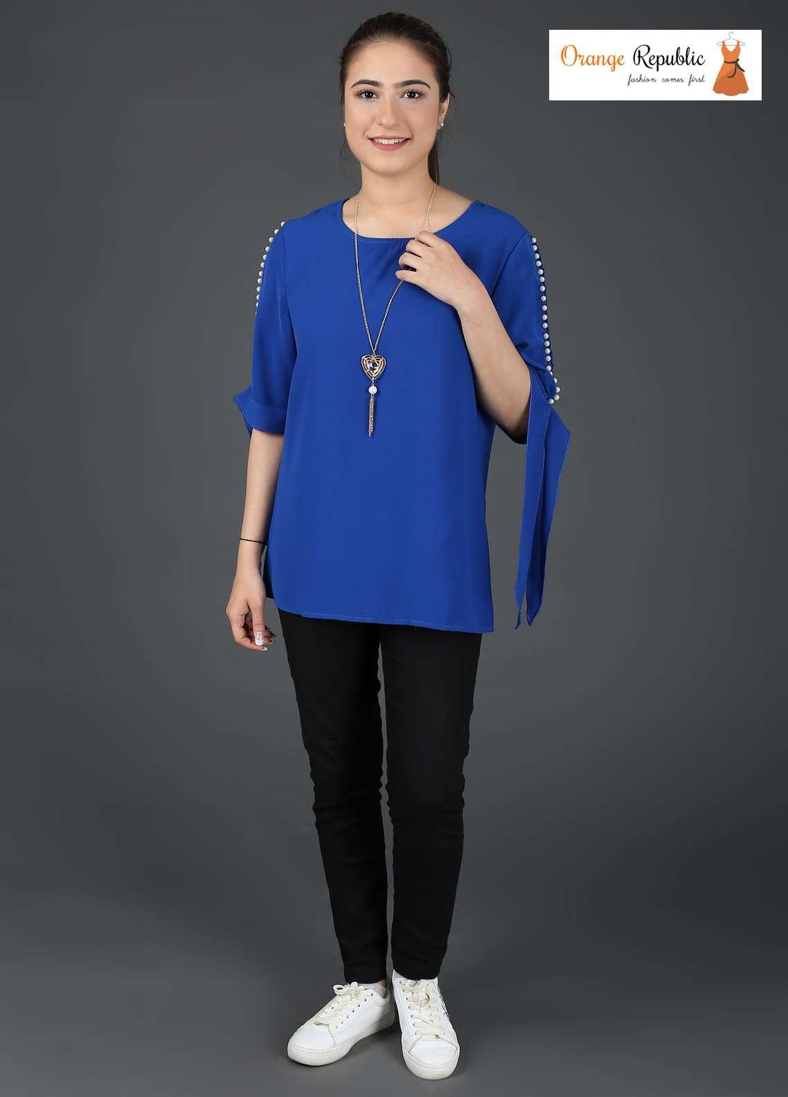 Orange Republic Fancy Style Bubble Chiffon Stitched Tops USA-03 Blue