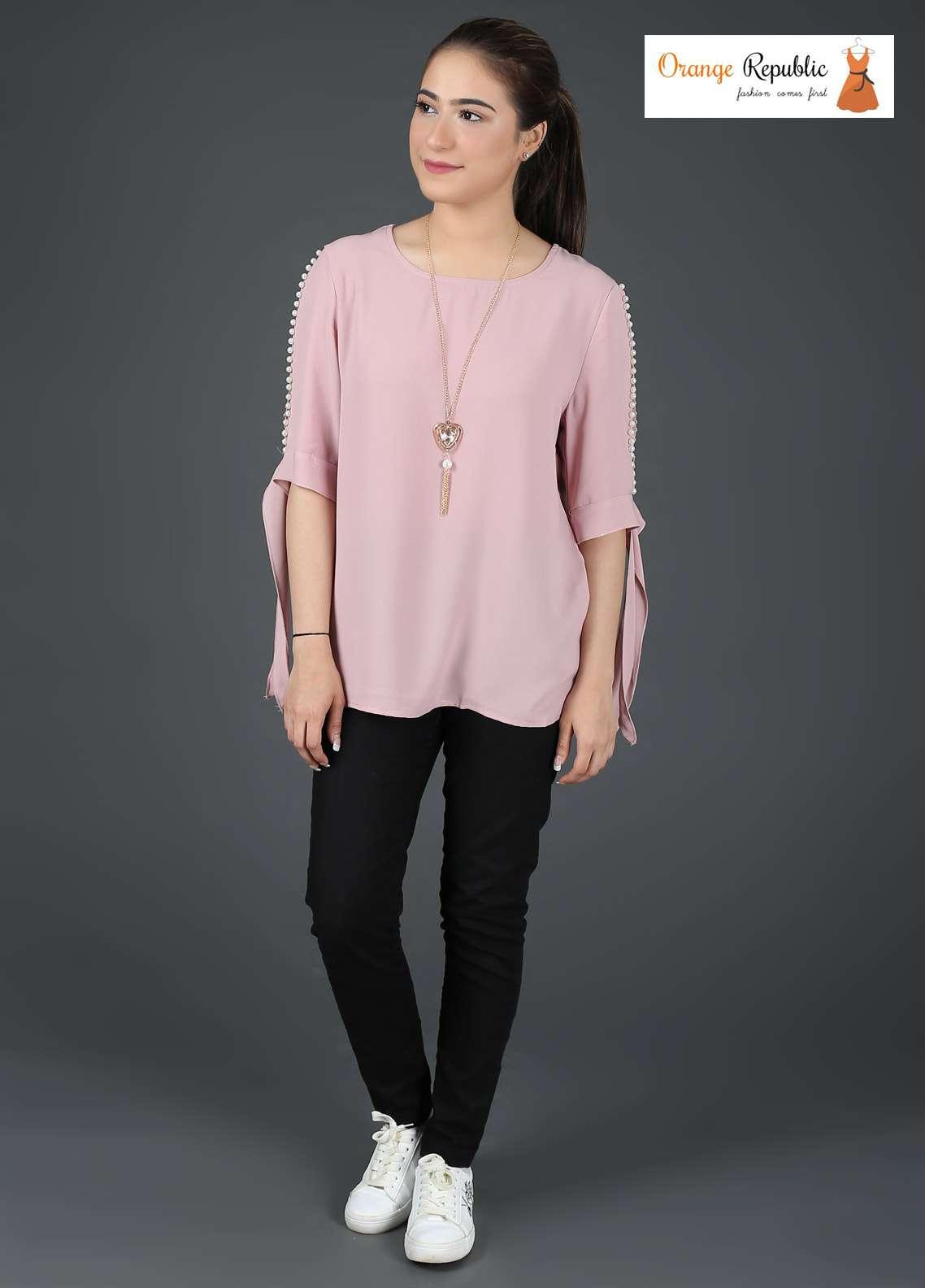 Orange Republic Fancy Style Bubble Chiffon Stitched Tops USA-03 Pink
