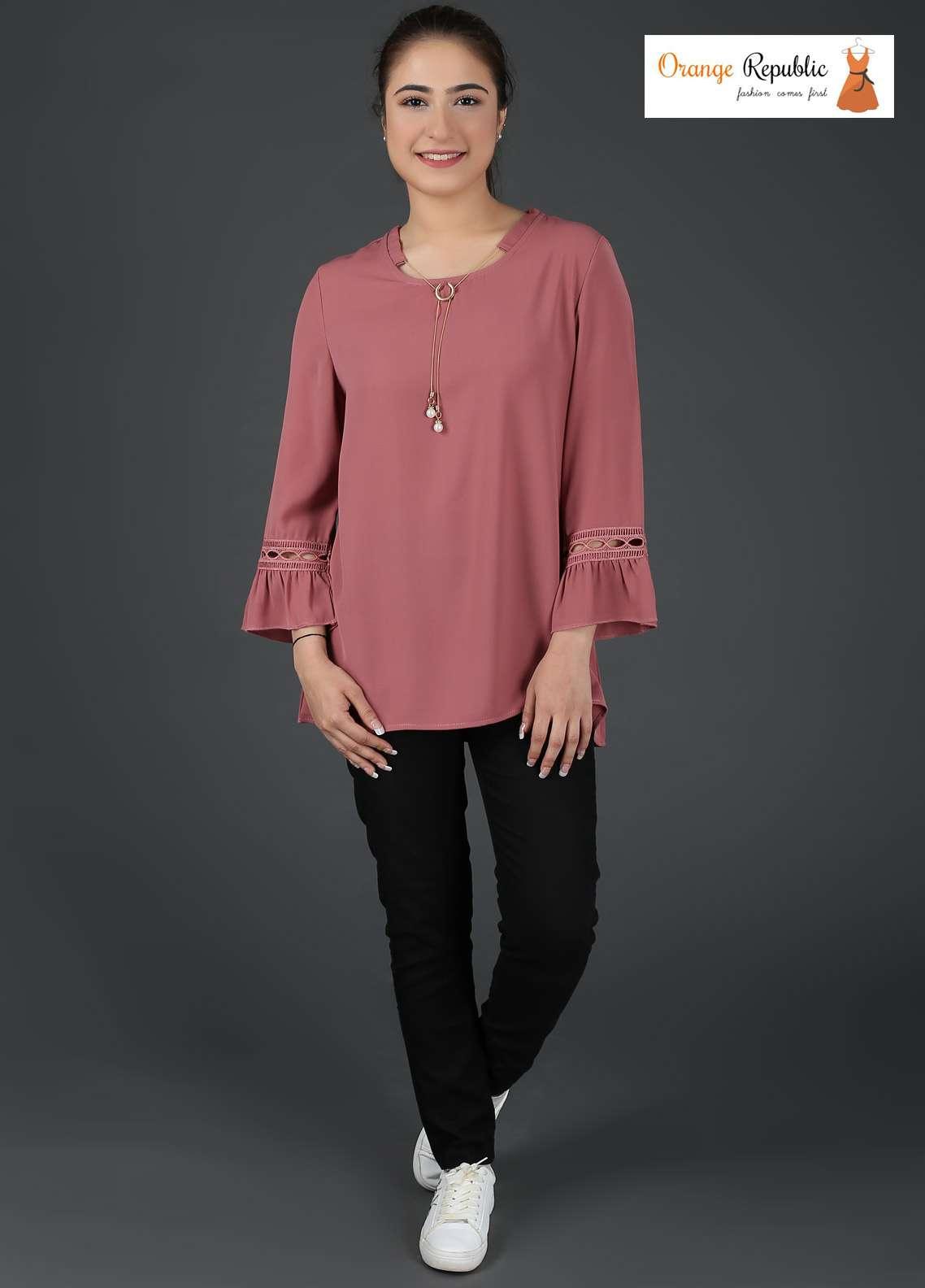 Orange Republic Fancy Style Bubble Chiffon Stitched Tops USA-04 Tea Pink
